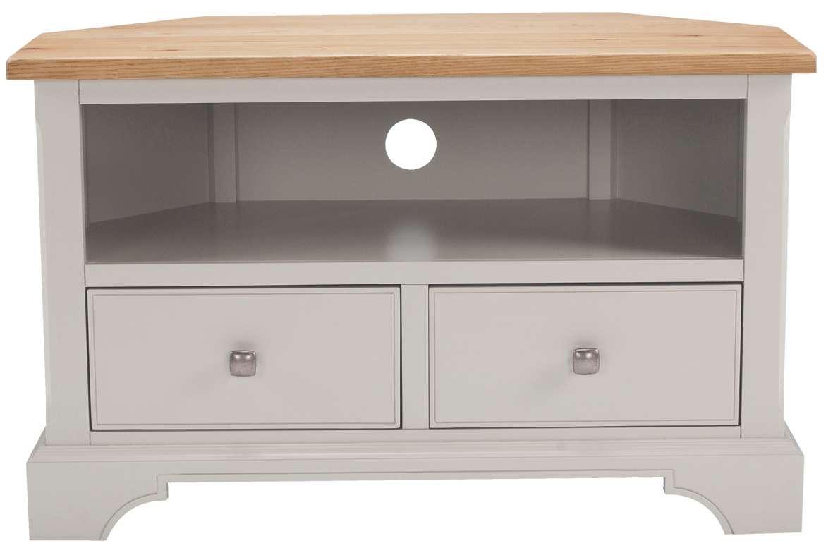 Soho Painted Oak Top Furniture Corner Tv Unit Cabinet Stand | Ebay In Painted Corner Tv Cabinets (View 6 of 20)