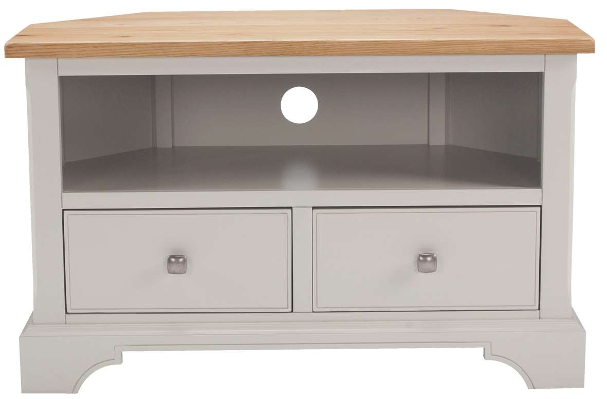 Soho Painted Oak Top Furniture Corner Tv Unit Cabinet Stand | Ebay In White Corner Tv Cabinets (View 7 of 20)