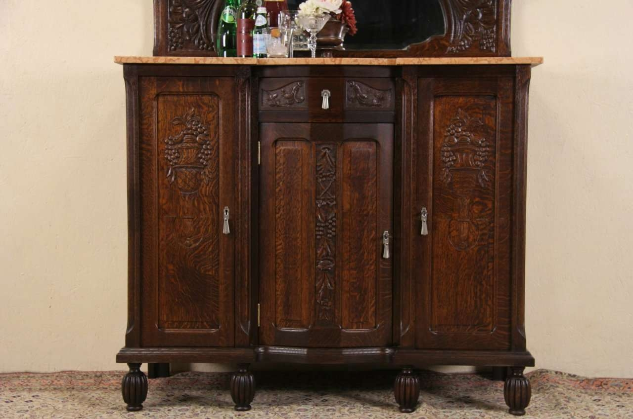 Sold – Art Deco 1925 Antique Marble Top Oak Sideboard, Server, Bar Intended For Antique Marble Top Sideboards (View 12 of 20)