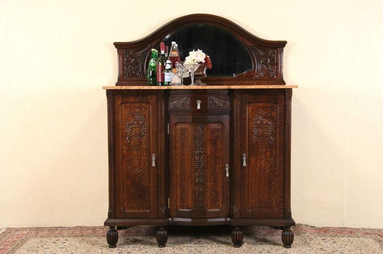 Sold – Art Deco 1925 Antique Marble Top Oak Sideboard, Server, Bar Throughout Antique Marble Top Sideboards (View 15 of 20)