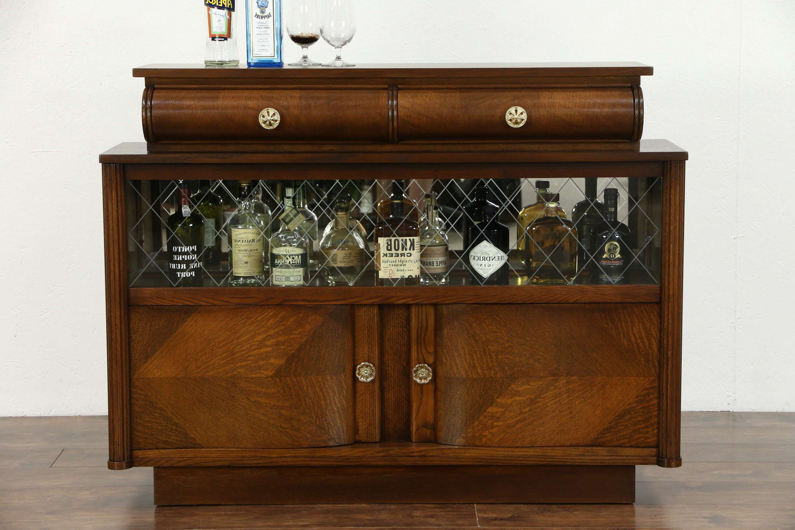 Sold – Art Deco Oak Vintage Scandinavian Sideboard, Bar Cabinet Inside Sideboards With Glass Doors (View 18 of 20)