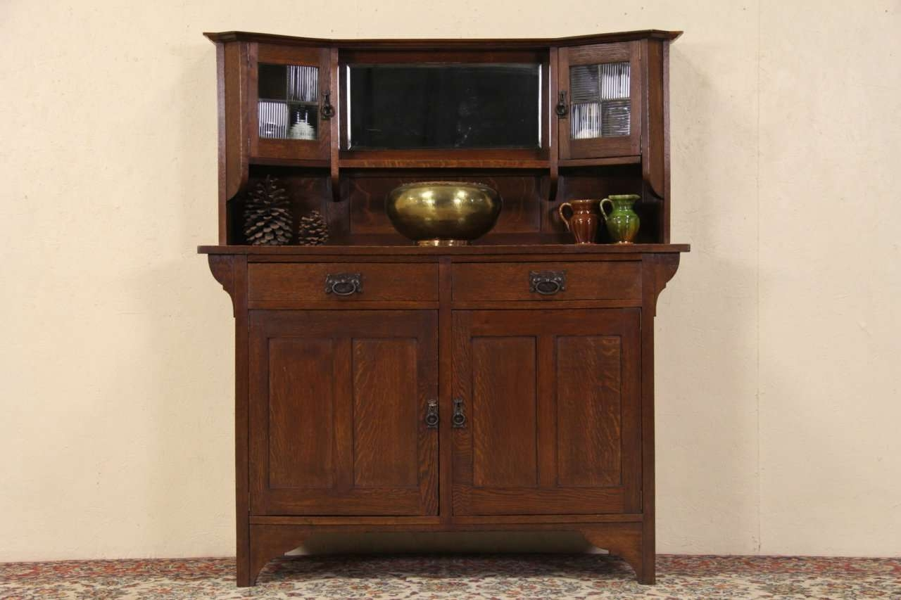 Sold – Arts & Crafts 1900 Antique Oak Sideboard Or Bar Cabinet For Sideboards Bar Cabinet (View 15 of 20)