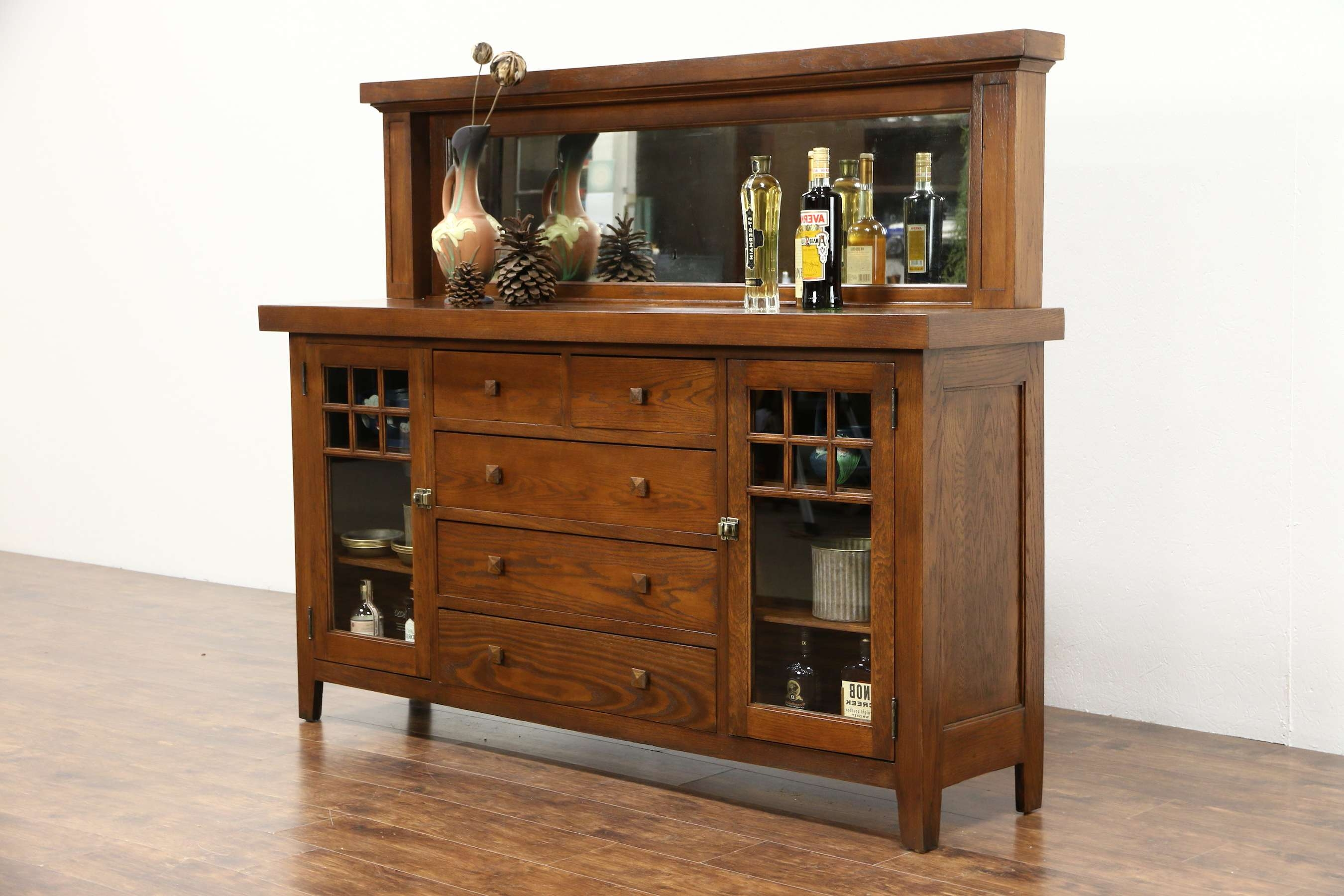 Sold – Arts & Crafts Mission Oak 1900 Antique Craftsman Sideboard With Regard To Antique Sideboards With Mirror (View 18 of 20)