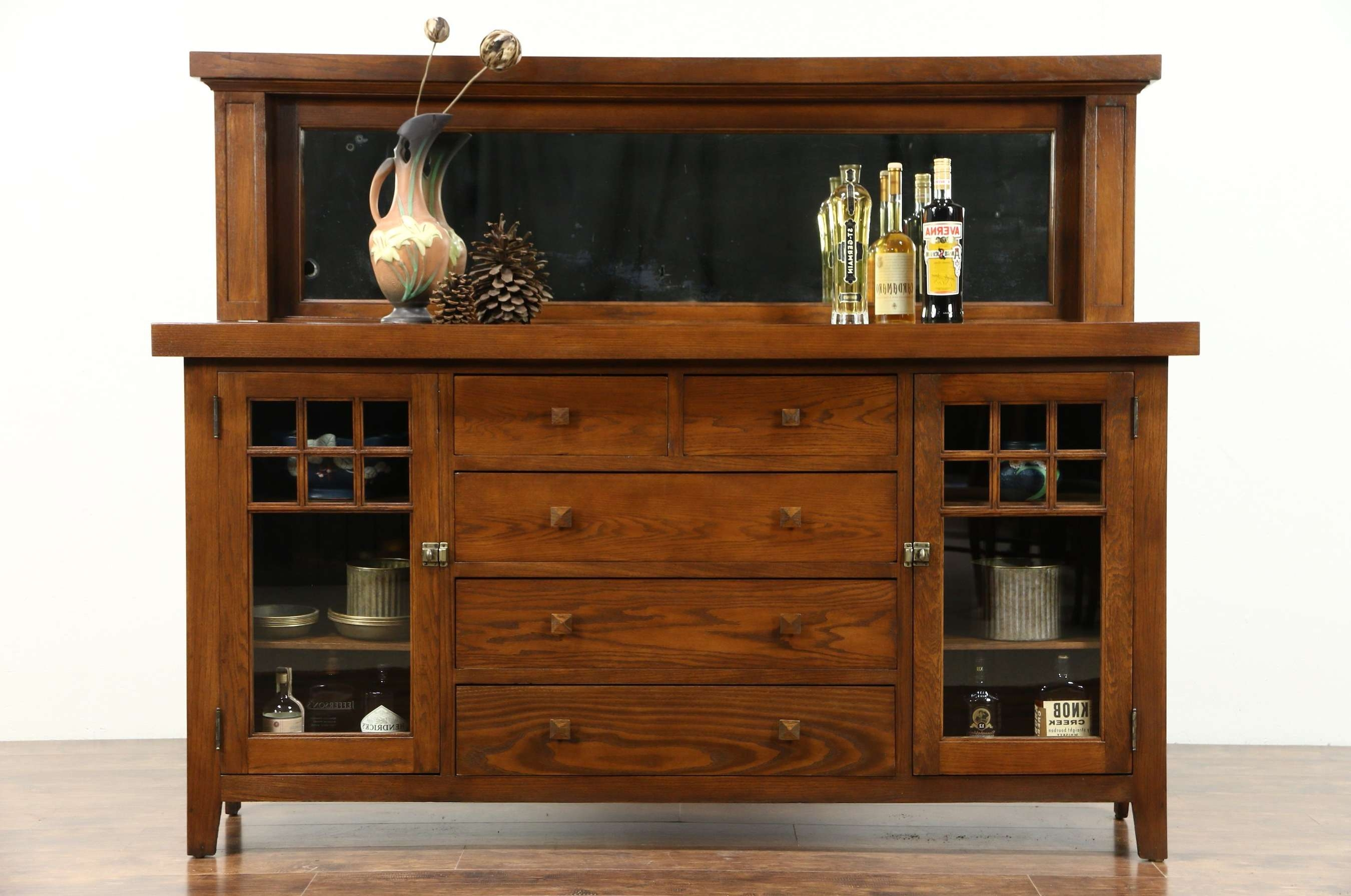 Sold – Arts & Crafts Mission Oak 1900 Antique Craftsman Sideboard Within Mission Sideboards (View 11 of 20)