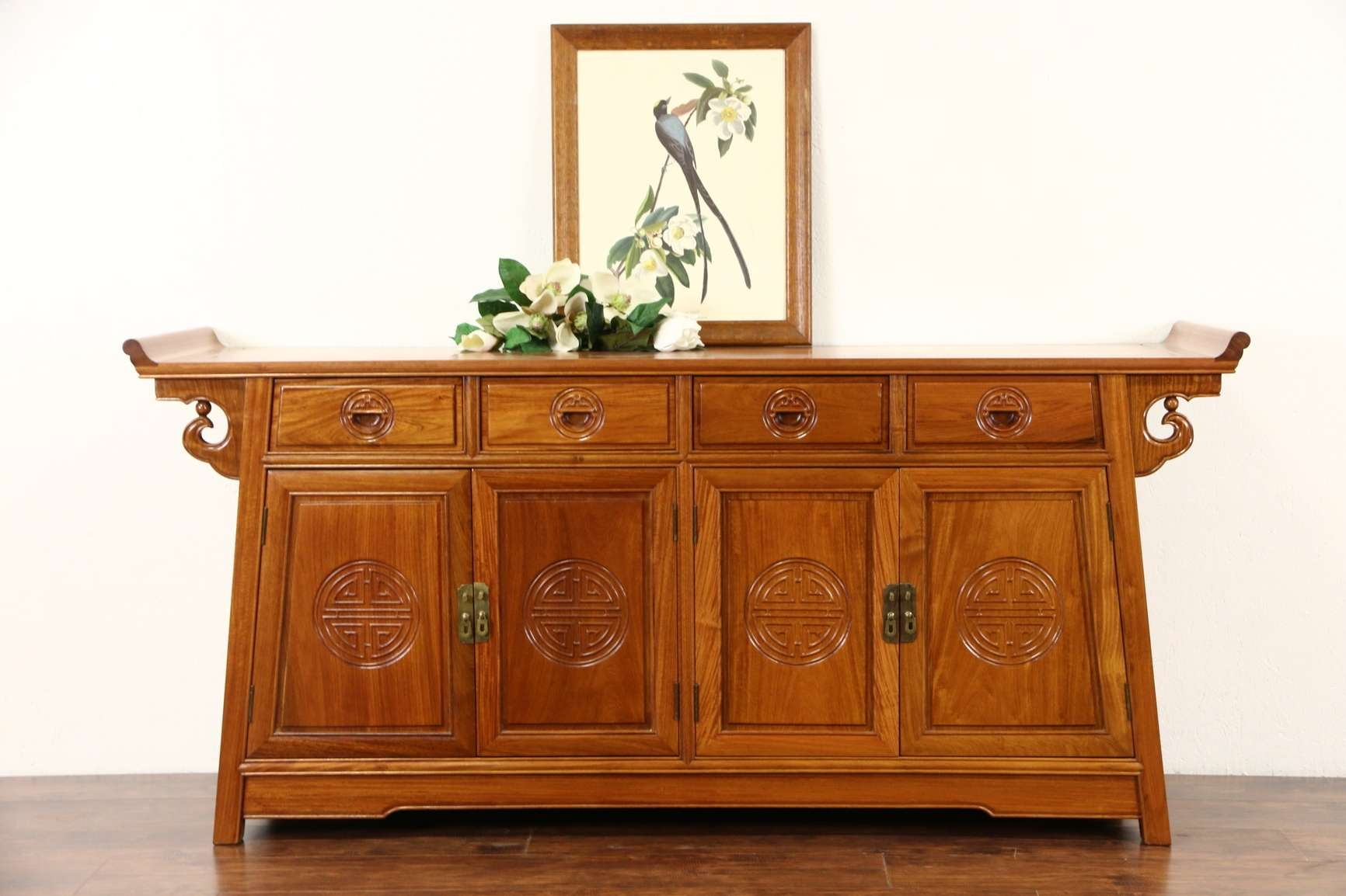 Sold – Asian Vintage Hand Carved Rosewood Sideboard Server Or For Asian Sideboards (View 12 of 20)
