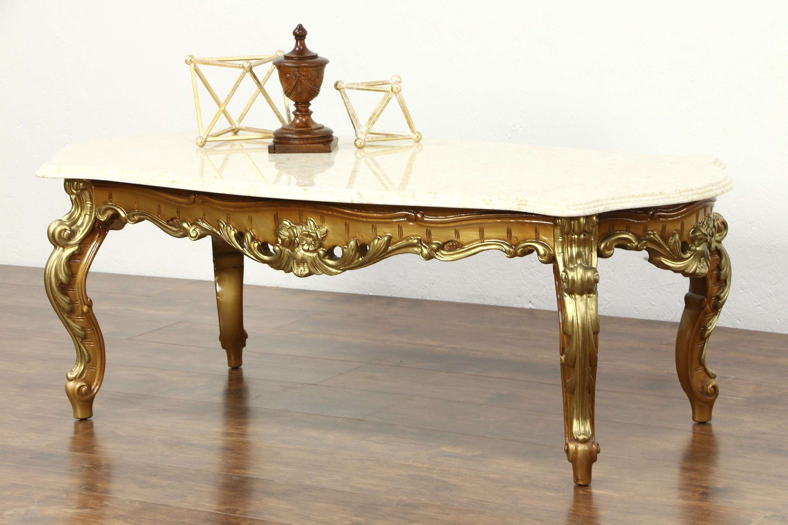 Sold – Carved Gold & Bronze Finish Vintage Coffee Table, Marble Within Recent Bronze Coffee Tables (View 16 of 20)
