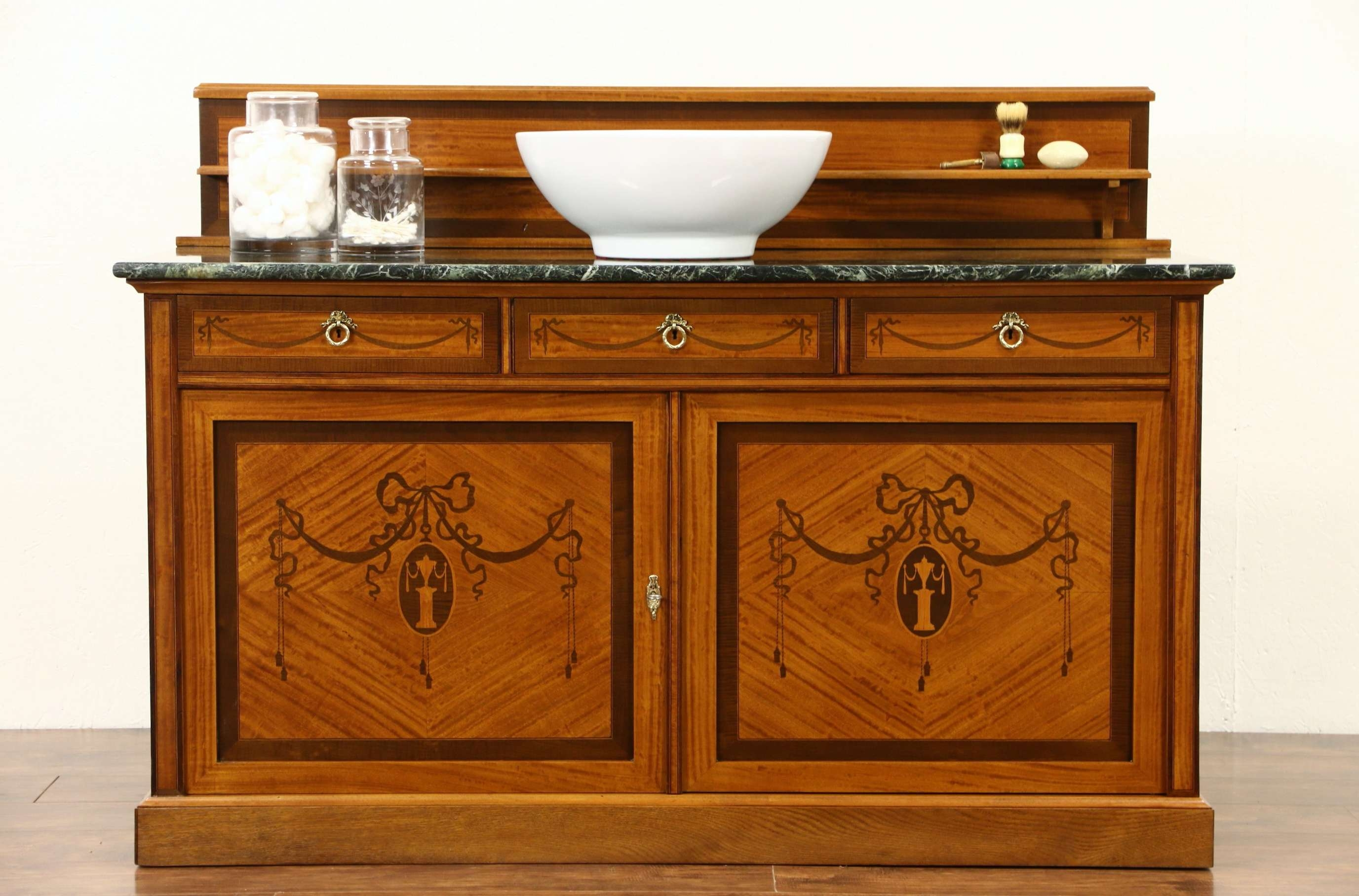 Sold – French 1915 Antique Marble Top Sideboard, Server, Bar Or Pertaining To Antique Marble Top Sideboards (View 11 of 20)