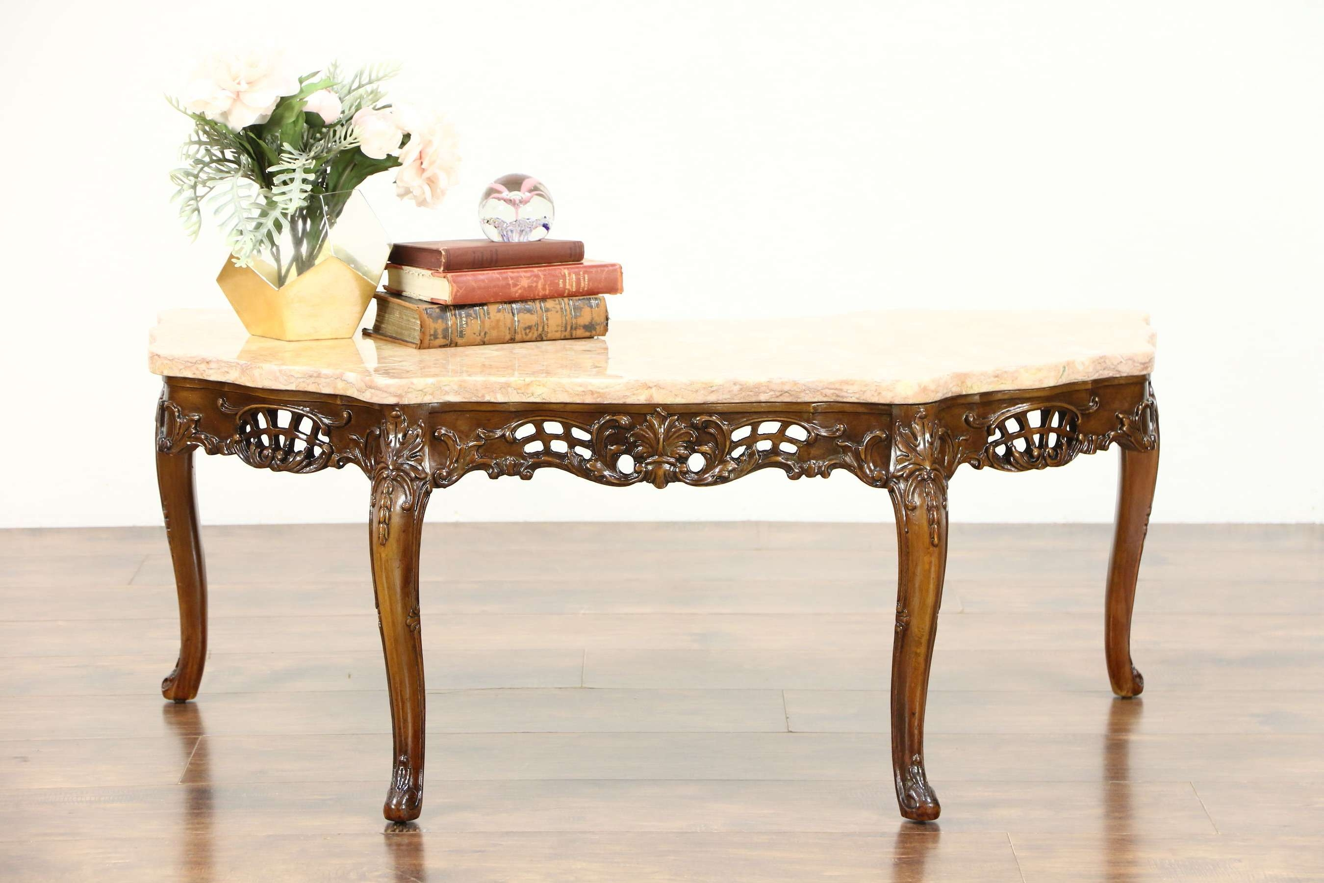Sold – French Style Carved 1940's Vintage Coffee Table, Rose Pertaining To Famous French Style Coffee Tables (View 18 of 20)