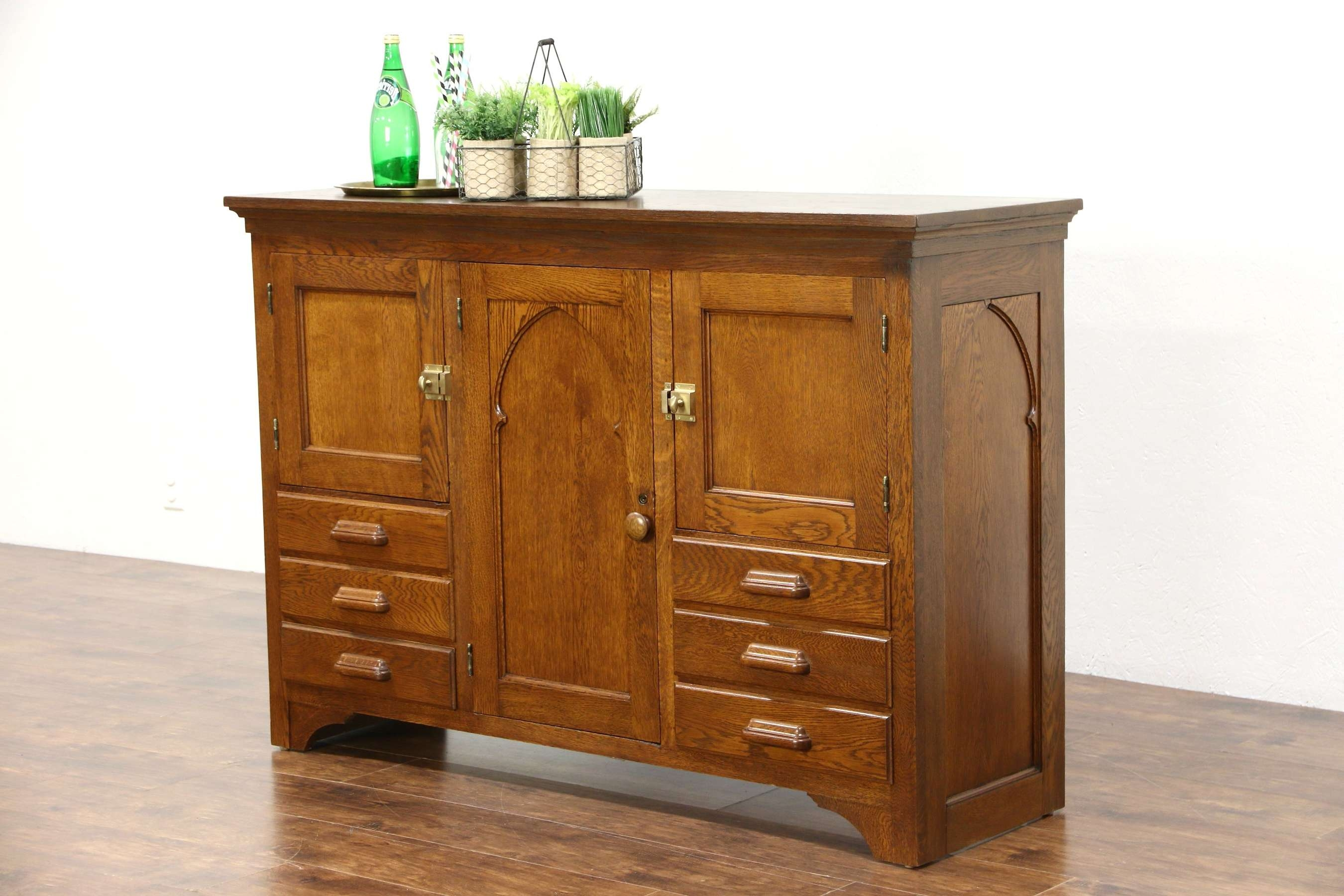 Sold – Gothic Carved 1890 Antique Oak Sideboard Cabinet Or Tv Pertaining To Antique Oak Sideboards (View 9 of 20)