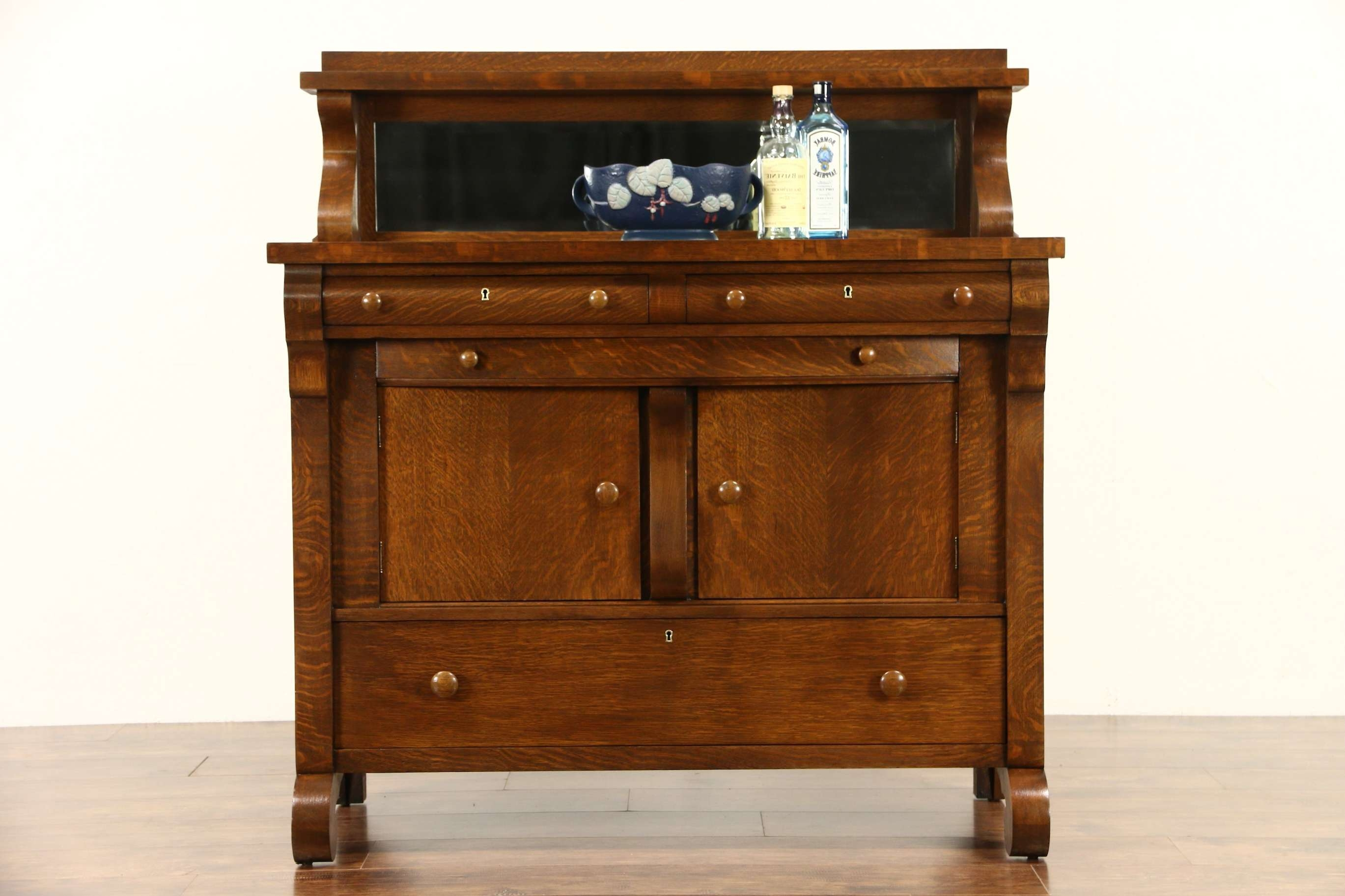 Sold – Oak 1900 Antique Empire Sideboard Or Buffet, Beveled Mirror In Antique Oak Sideboards (View 15 of 20)