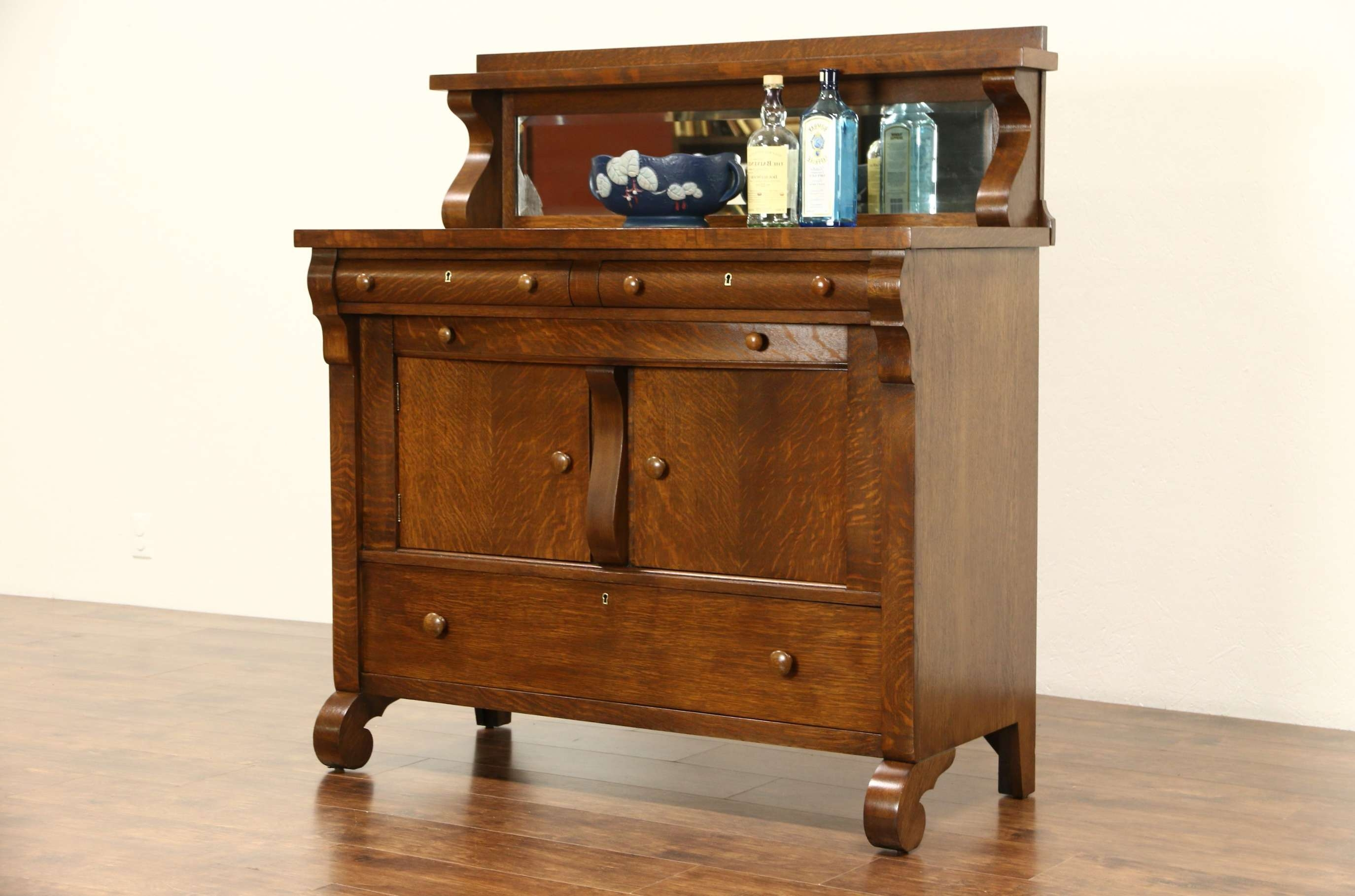Sold – Oak 1900 Antique Empire Sideboard Or Buffet, Beveled Mirror Inside Antique Sideboards With Mirror (View 2 of 20)