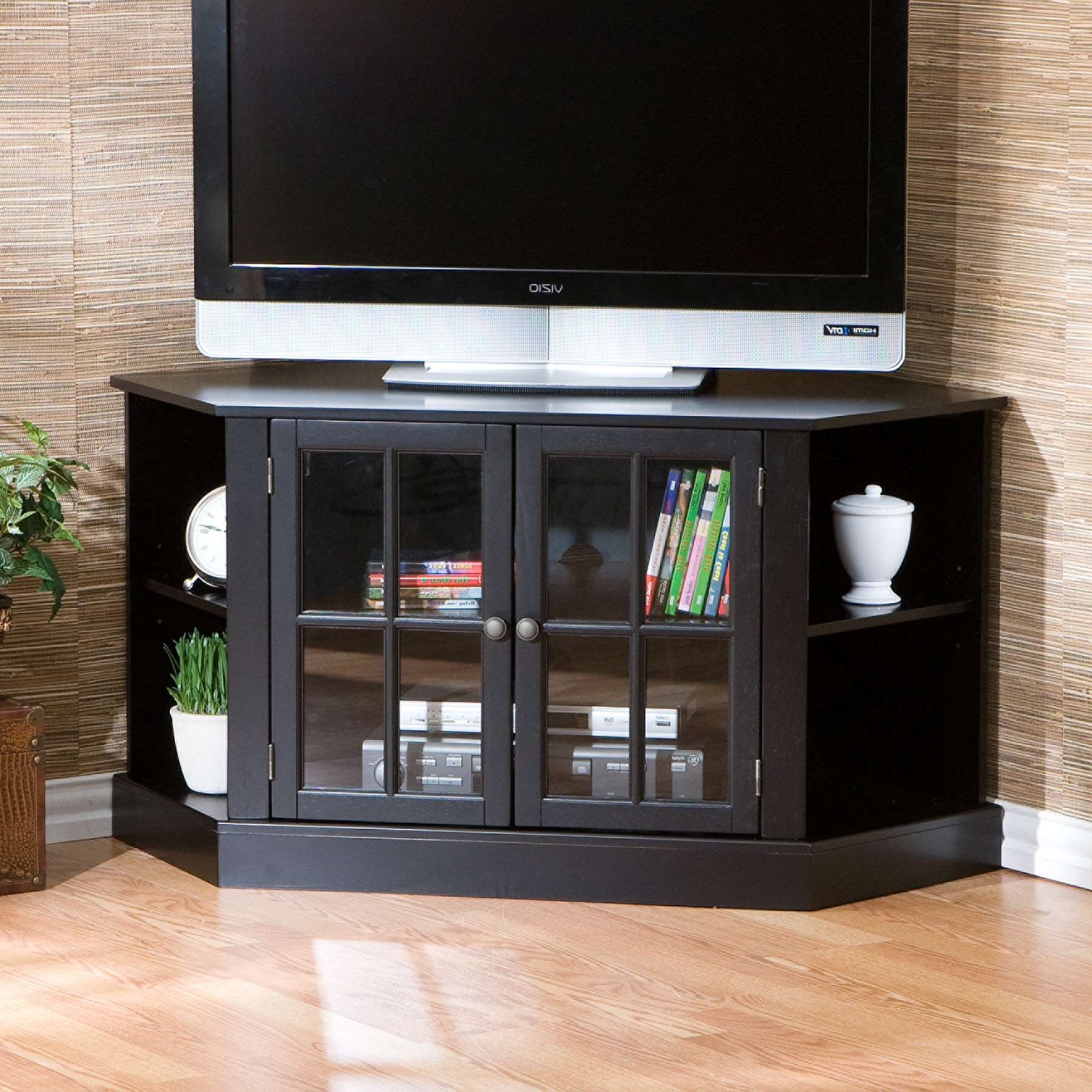 Sold Thomas Corner Media Stand – Black Regarding Black Corner Tv Cabinets With Glass Doors (View 12 of 20)