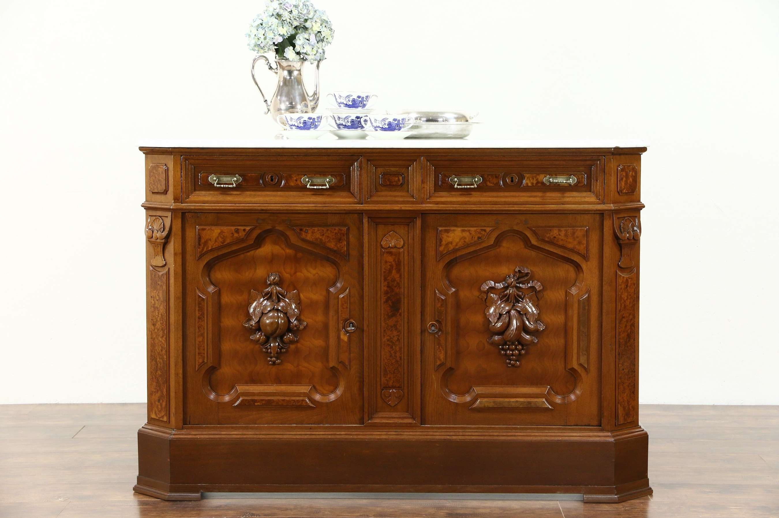 Sold – Victorian 1880 Antique Marble Top Walnut Sideboard Server With Antique Marble Top Sideboards (View 19 of 20)