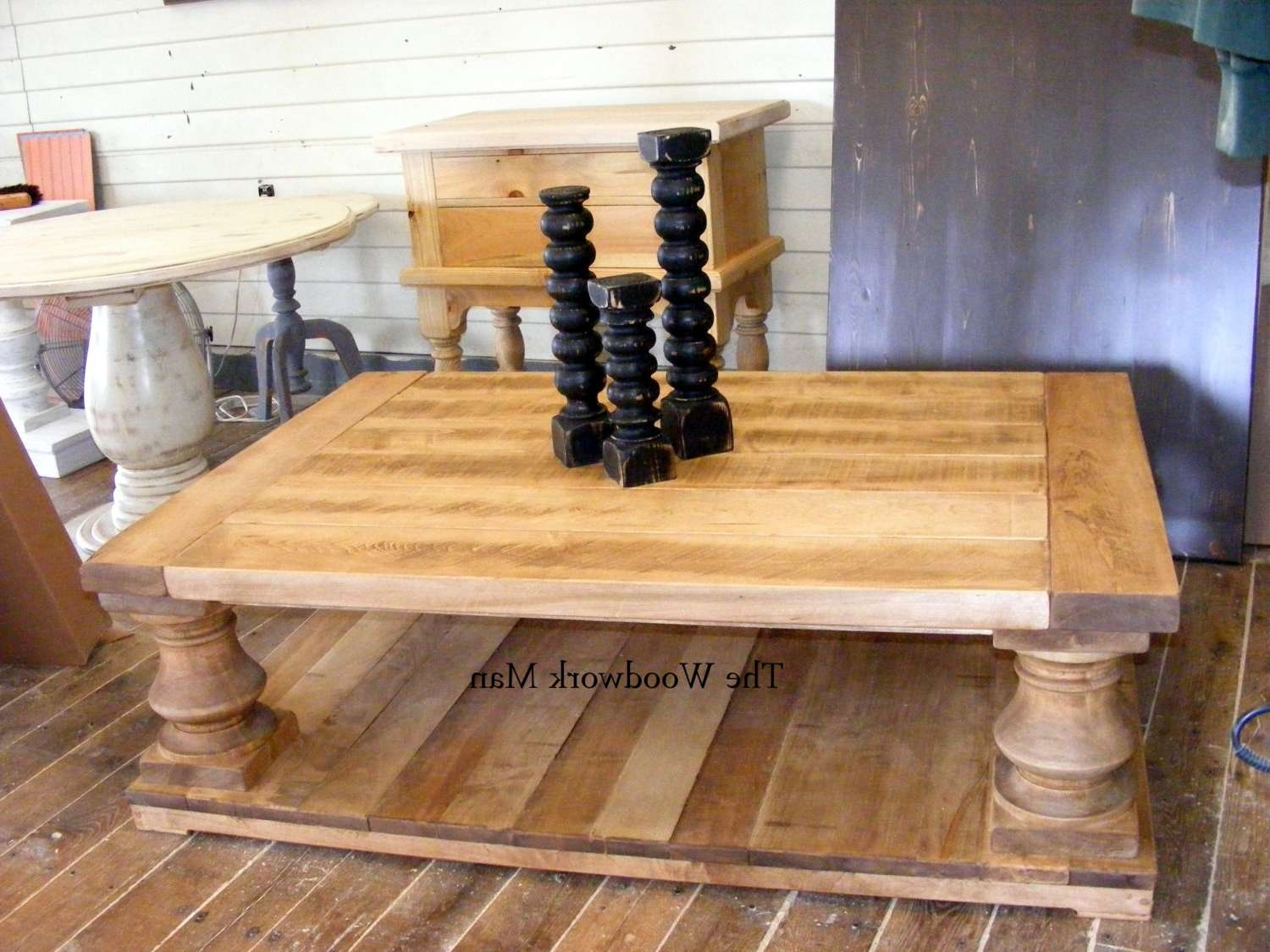 Solid Maple Wood Balustrade Coffee Table Beautiful Old Wood In Widely Used Chunky Wood Coffee Tables (View 2 of 20)