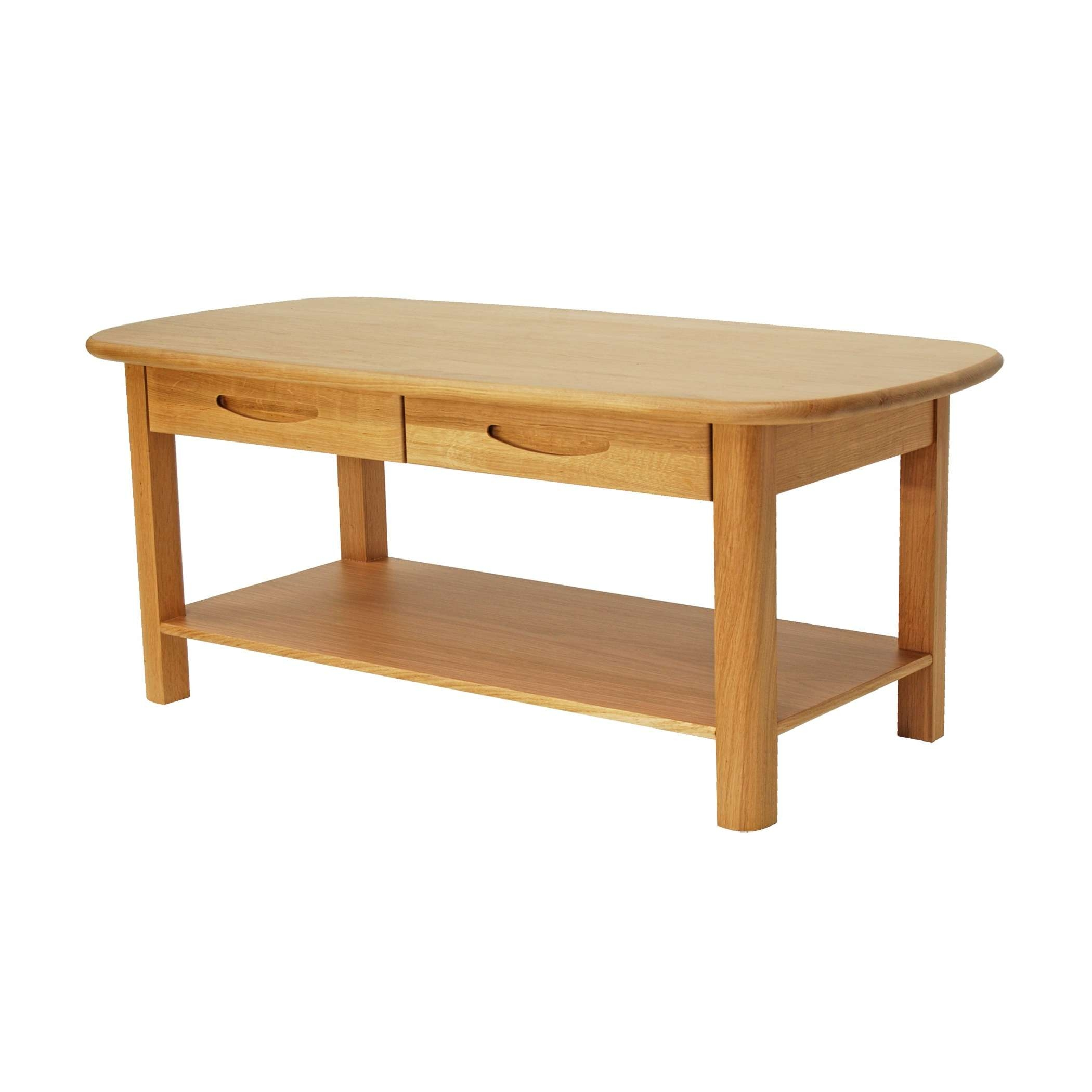 Solid Oak Coffee Table With Two Drawers (View 8 of 20)