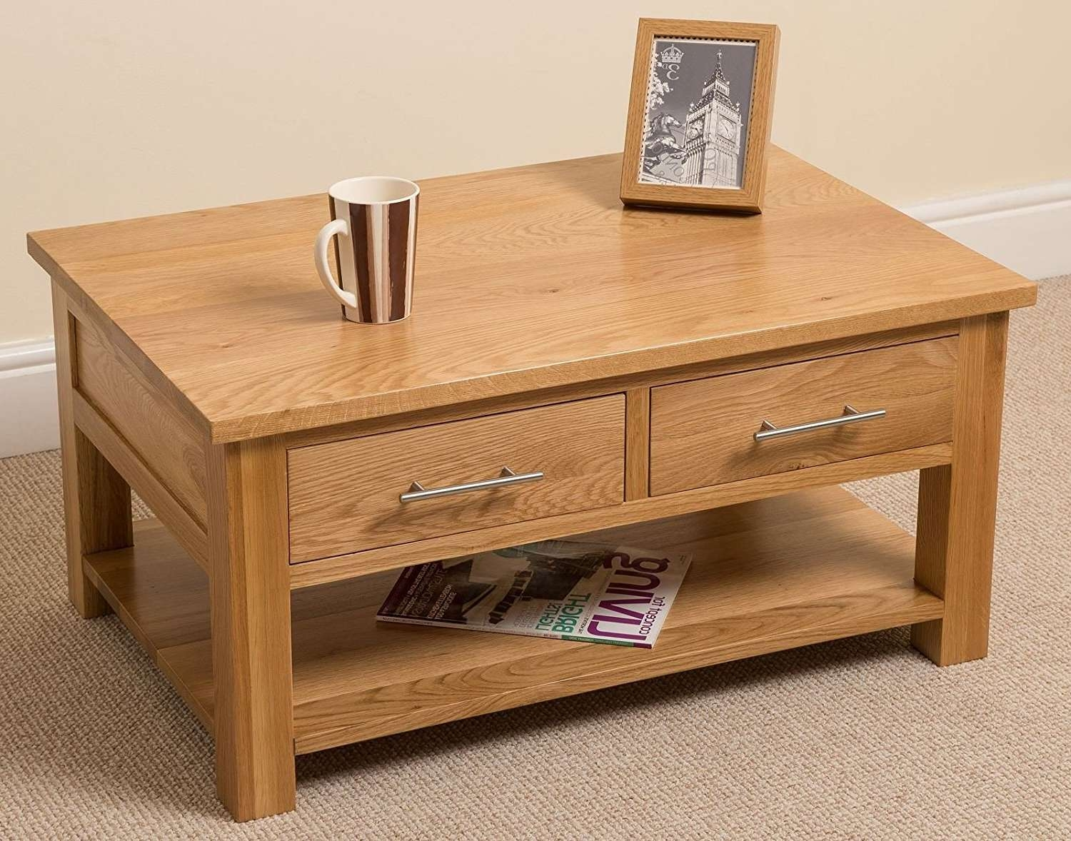 Solid Oak Coffee Table – Writehookstudio Throughout Well Known Light Oak Coffee Tables With Drawers (View 2 of 20)