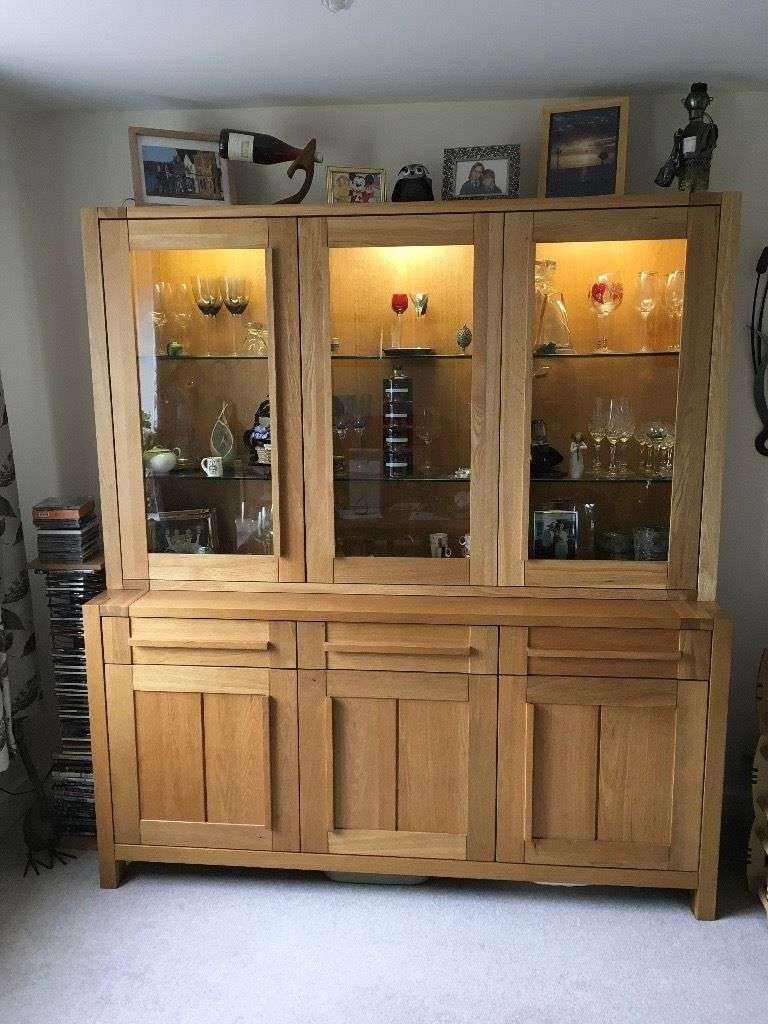 Solid Oak M&s Sonoma 3 Door Sideboard And Glazed Top Cabinet (View 18 of 20)