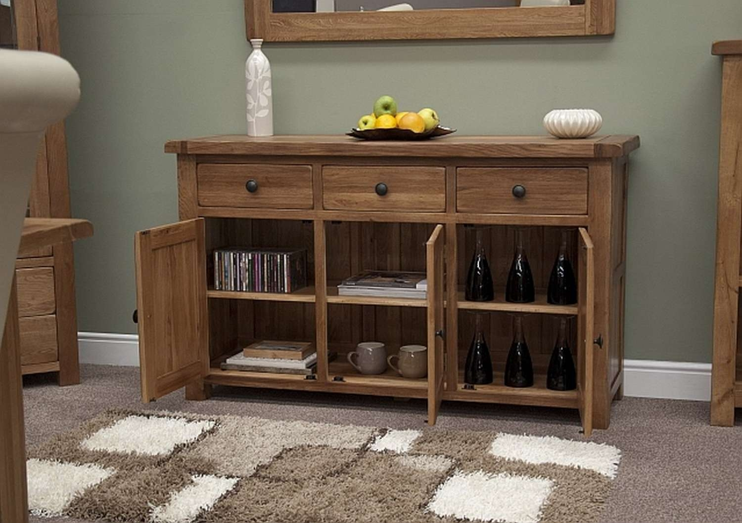 Solid Wood Rustic Sideboard : Ideas Decor Rustic Sideboard – Wood In Rustic Oak Large Sideboards (View 18 of 20)