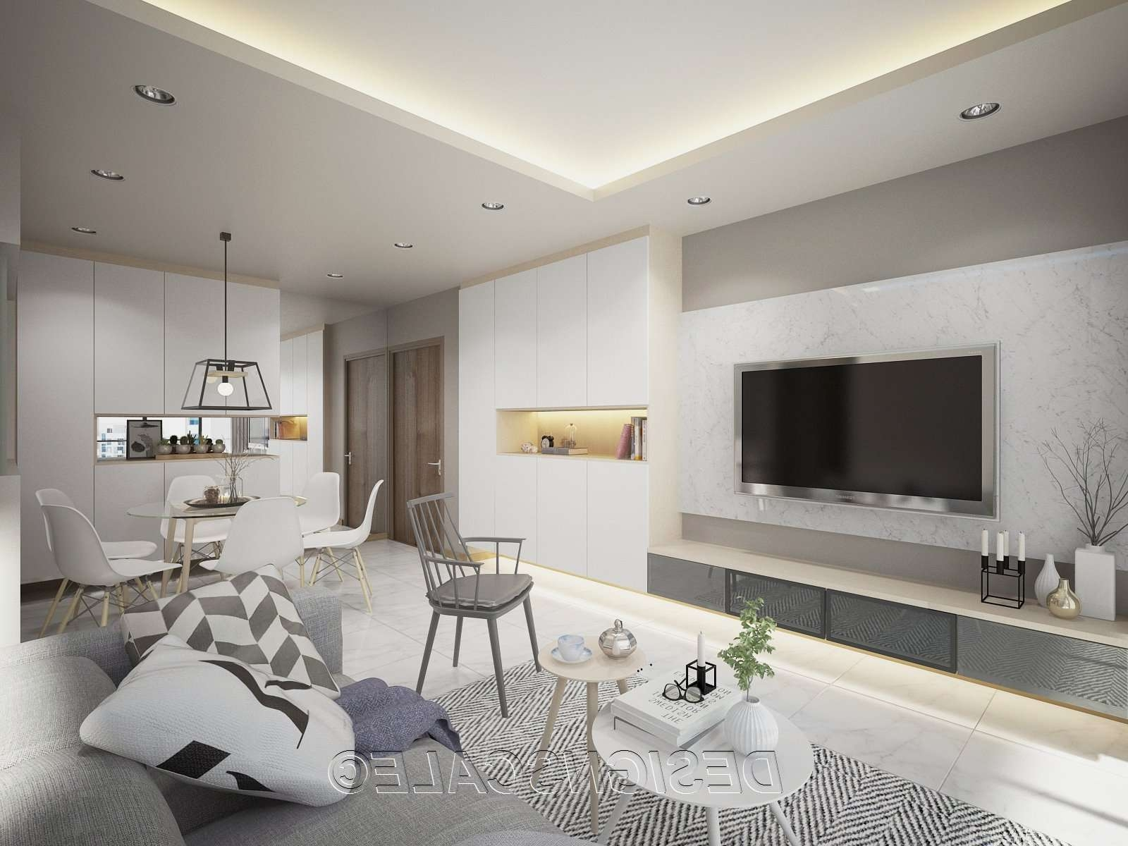 Spacious Scandinavian Home With Floating Cabinets Intended For Scandinavian Design Tv Cabinets (View 11 of 20)