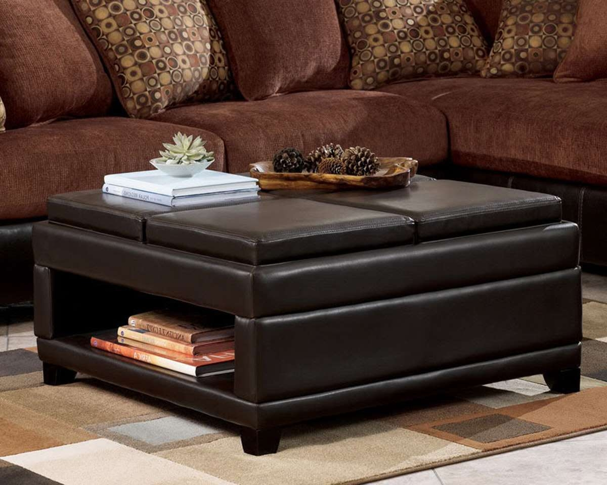Square Leather Ottoman Coffee Table Shelf : Sophisticated Square Inside Most Popular Brown Leather Ottoman Coffee Tables (View 9 of 20)