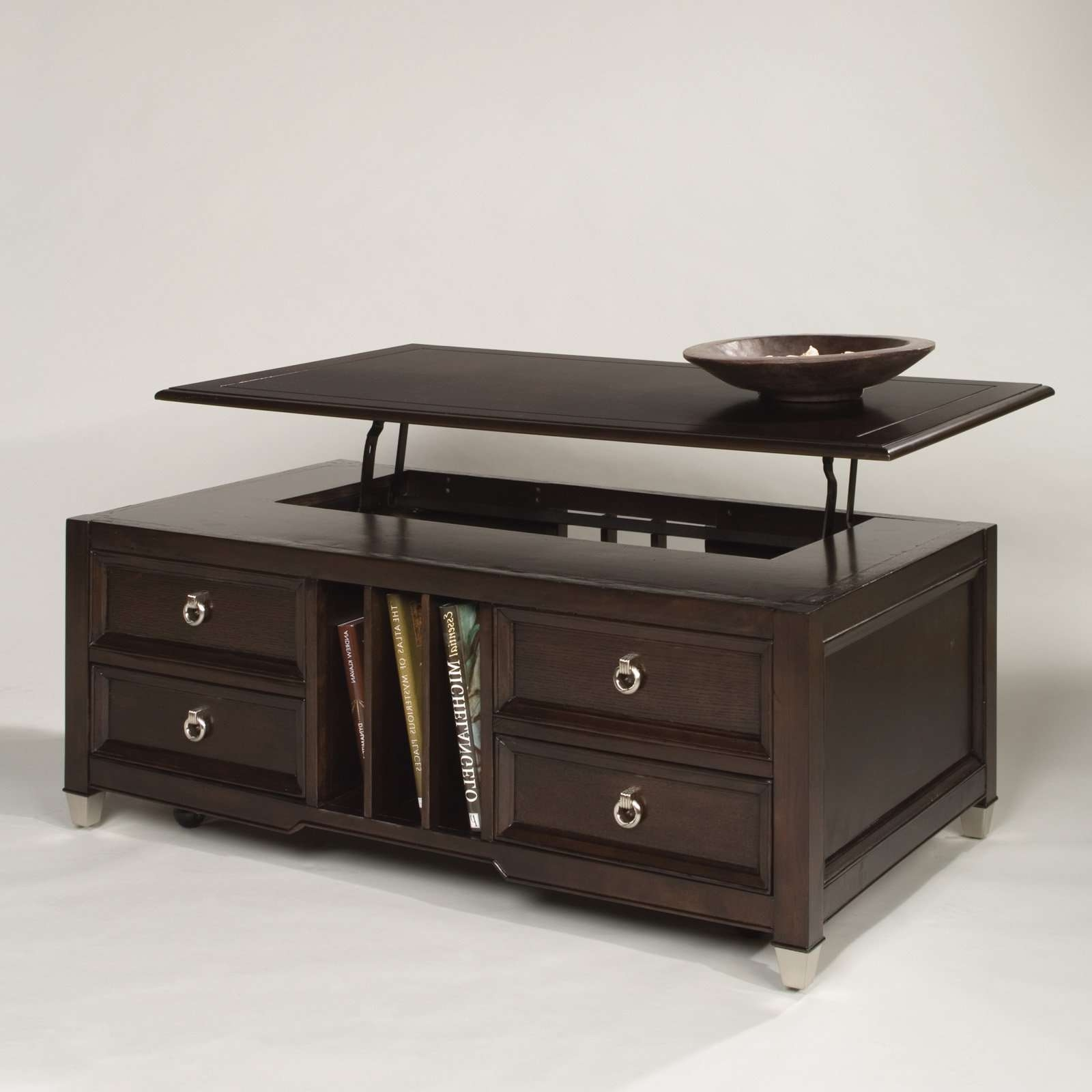 Square Leather Ottoman Coffee Table With Storage With Modern Flip Inside Most Current Square Coffee Table With Storage Drawers (View 14 of 20)