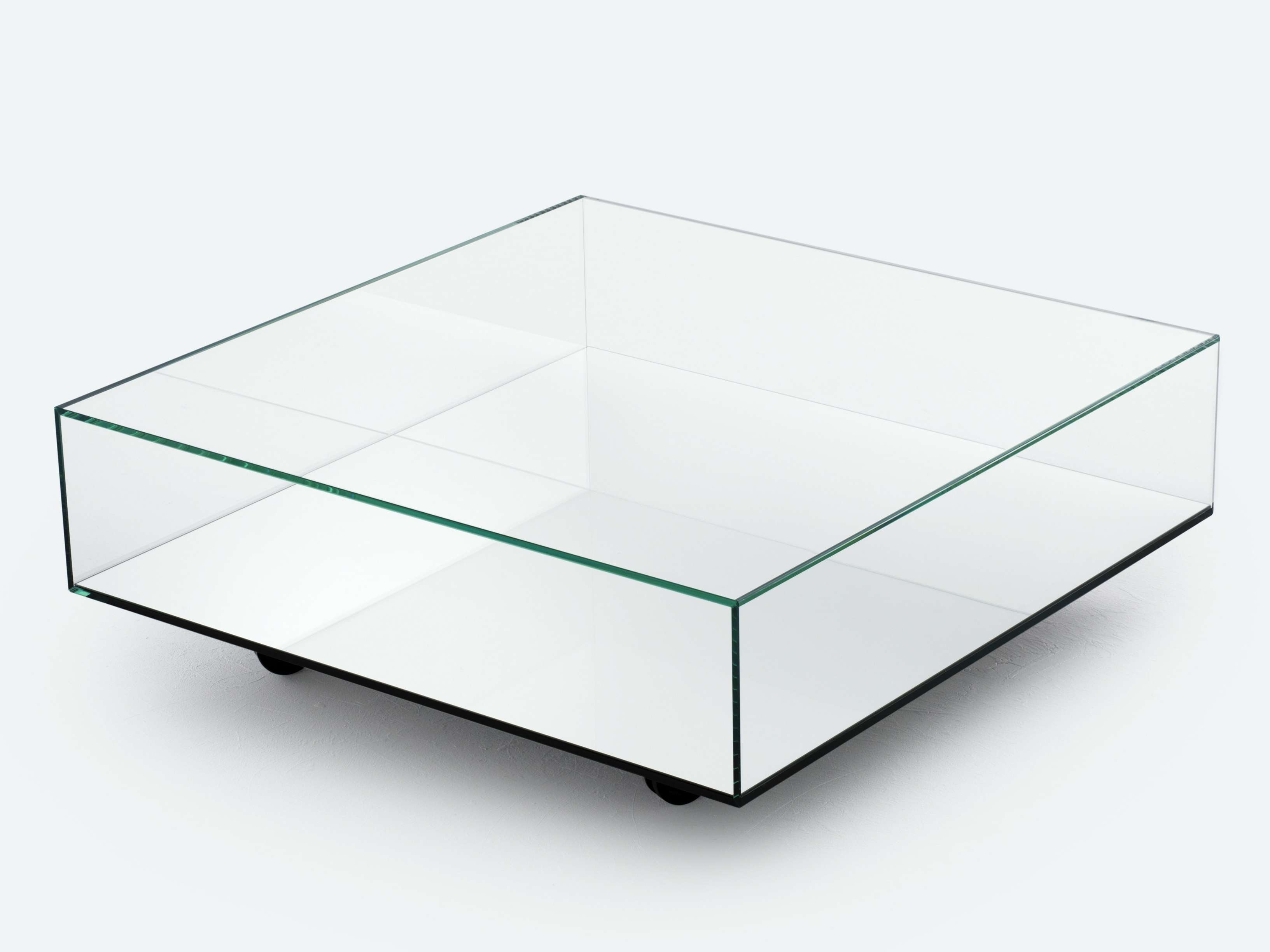 Square Low Profile Mirrored Glass Top Coffe Table With Storage And Regarding Most Popular Low Coffee Tables With Storage (View 19 of 20)