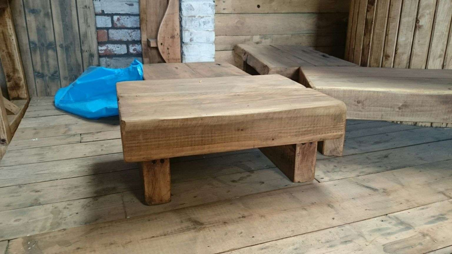 Square Oak Sleeper Coffee Table Are Stockeduk Timber (View 18 of 20)