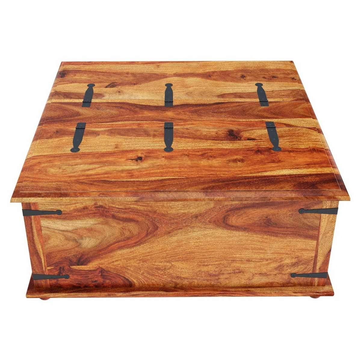 Square Storage Box Trunk With Metal Accents Coffee Table For Most Popular Coffee Tables With Box Storage (View 20 of 20)