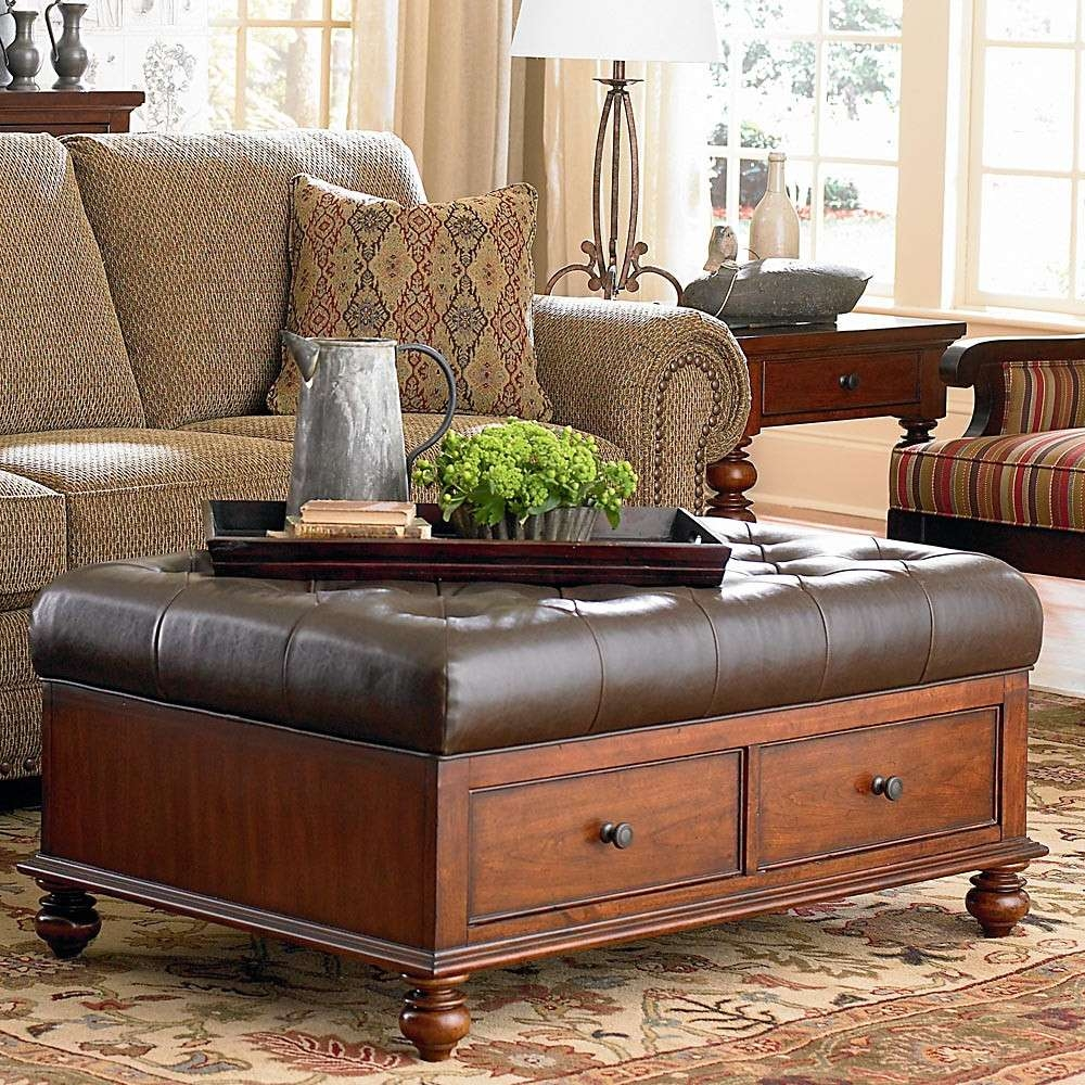Square Tufted Ottoman Wood And Brown Leather Ottoman Coffee Table Regarding 2018 Brown Leather Ottoman Coffee Tables With Storages (View 8 of 20)