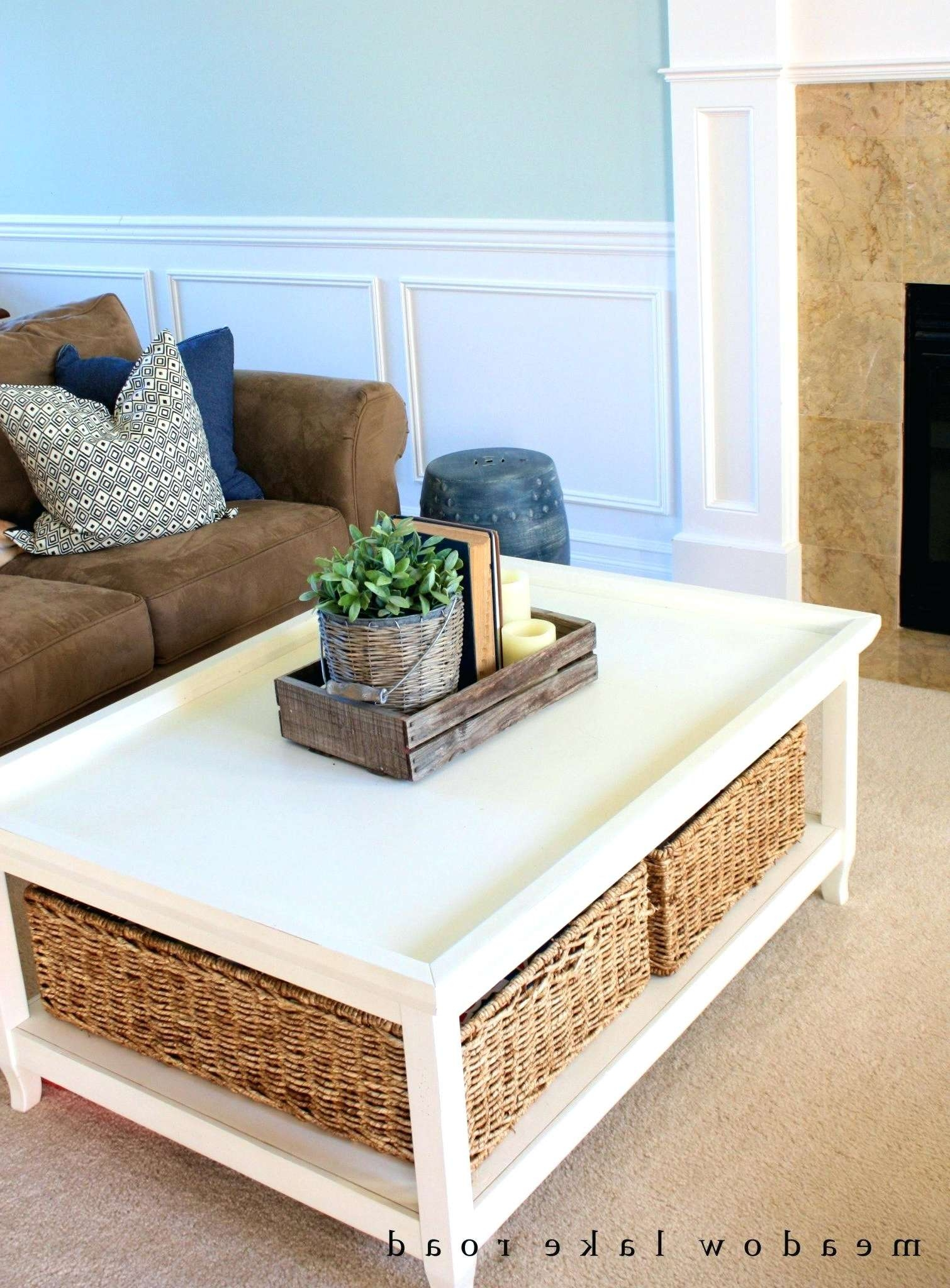 Square White Coffee Table Perfect For Interior Decor Storage Inside Newest Tables With Basket