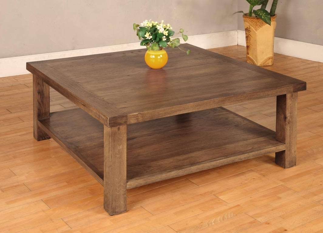 Square Wood Coffee Table For Natural Ambience Of Living Room Pertaining To Fashionable Oak Wood Coffee Tables (View 18 of 20)