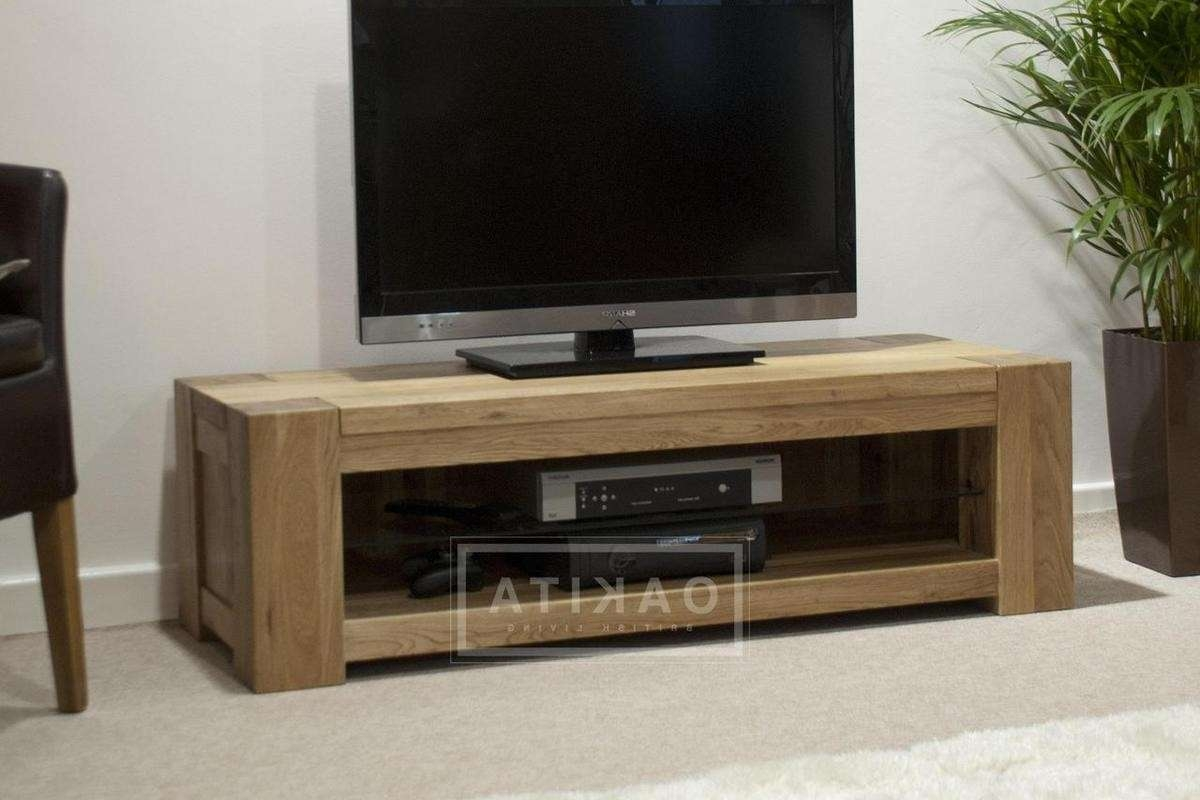 St Ives Oak Wide & Low Tv Cabinet – Oak Tv Stands & Entertainment Inside Oak Tv Cabinets (View 5 of 20)