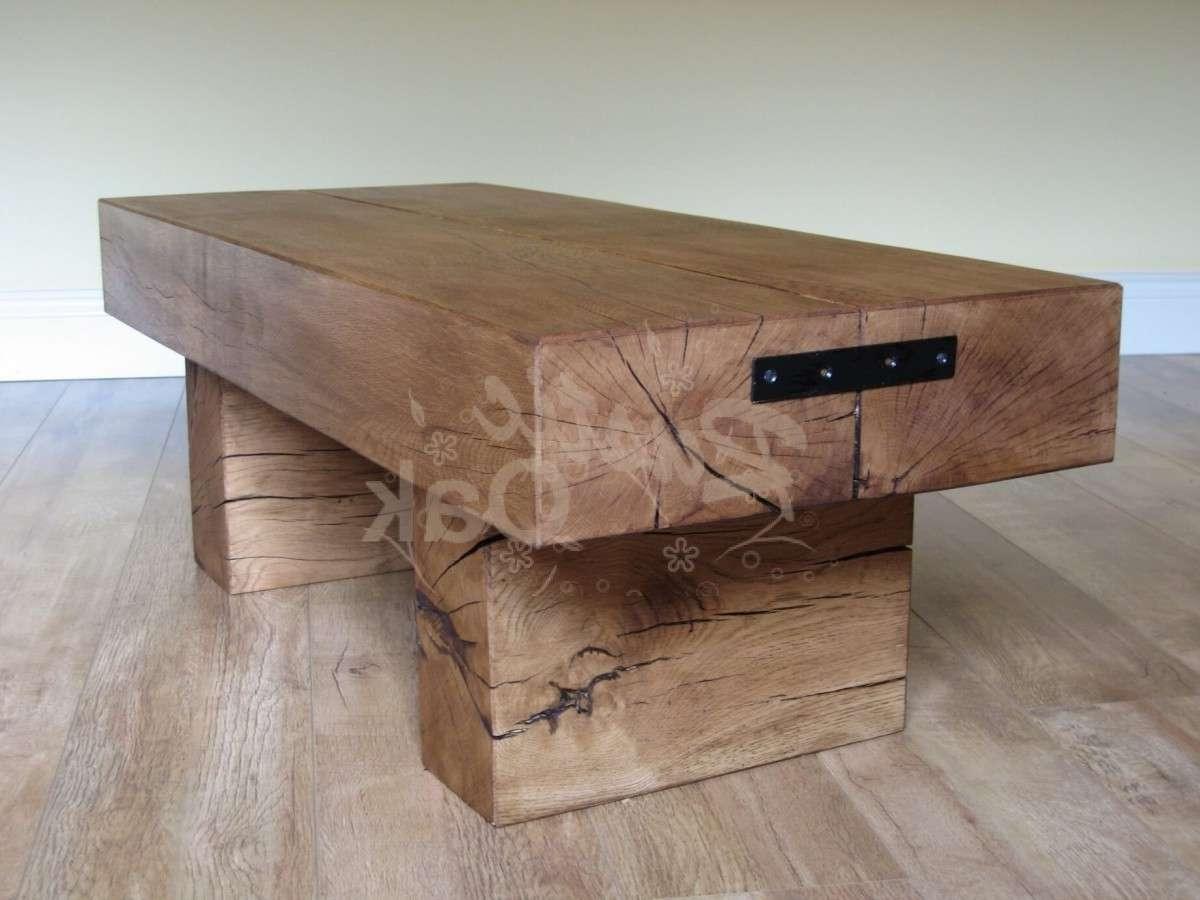 Standard 2 Beam Coffee Table – Rustic Oak Regarding Favorite Oak Beam Coffee Tables (View 6 of 20)