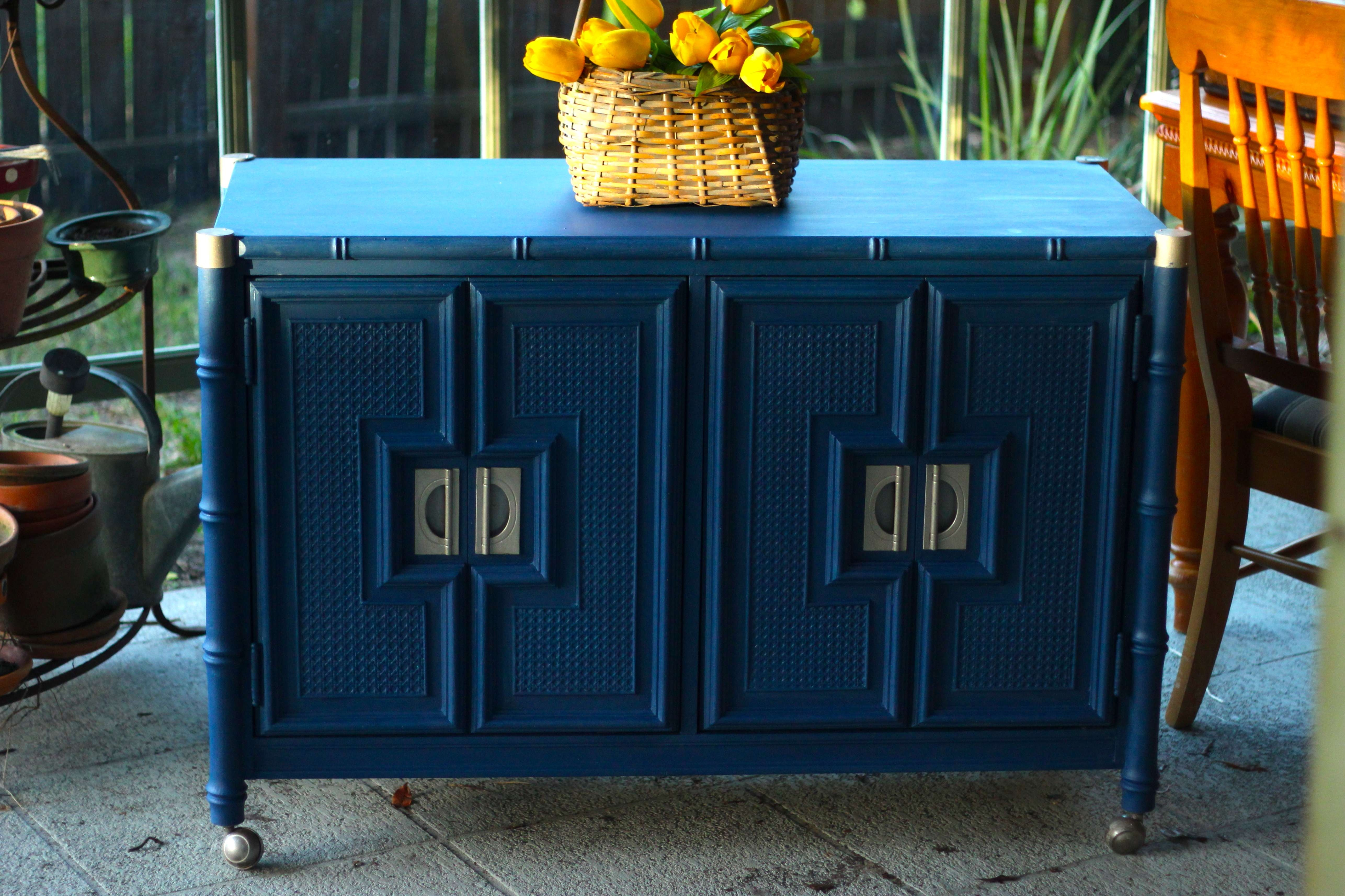 Stanley Faux Bamboo Hollywood Regency Server Bar Sideboard/buffet Within Blue Buffet Sideboards (View 19 of 20)