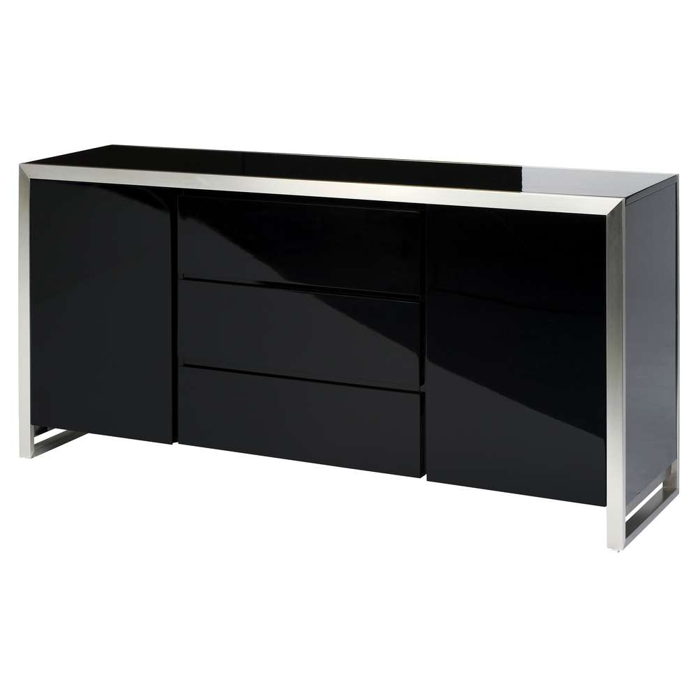 Steel Frame Gloss Sideboard Black – Dwell Inside Gloss Sideboards Furniture (View 10 of 20)
