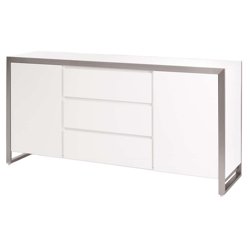 Steel Frame Gloss Sideboard White – Dwell Intended For Uk Gloss Sideboards (View 19 of 20)