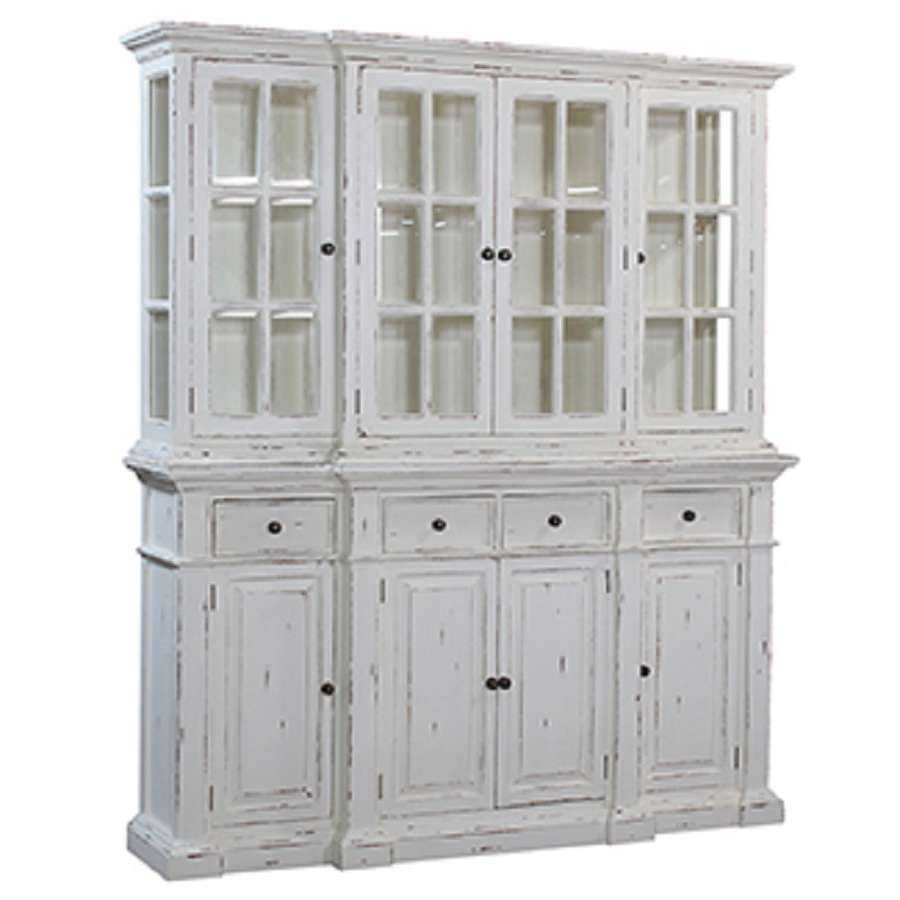 Stepped Front Buffet With Hutch White Distressed : , Storeroom On Main In Distressed Sideboards And Buffets (View 9 of 20)