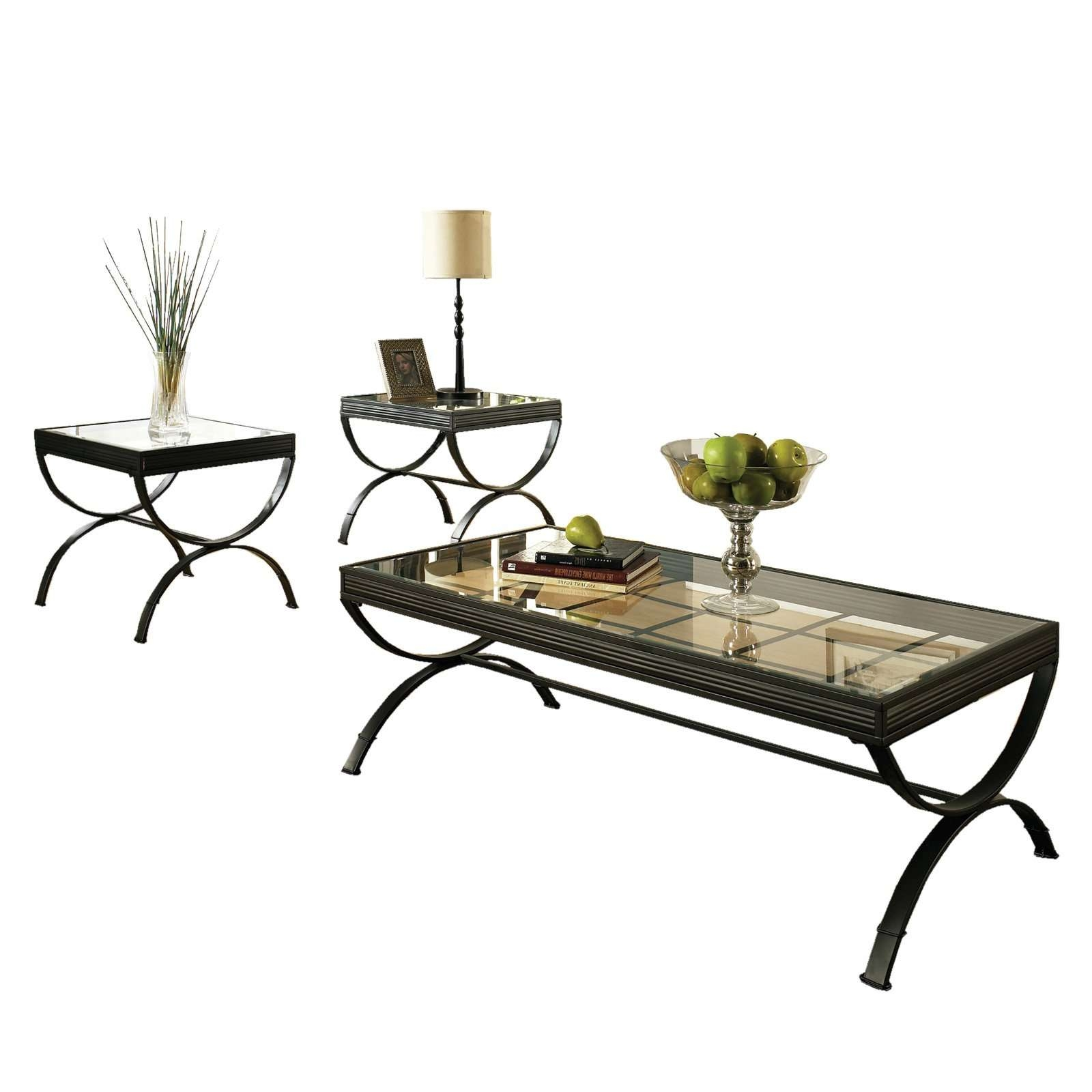 Steve Silver Emerson Rectangle Glass Top 3 Piece Coffee Table Set Regarding Most Up To Date Rectangle Glass Coffee Table (View 17 of 20)