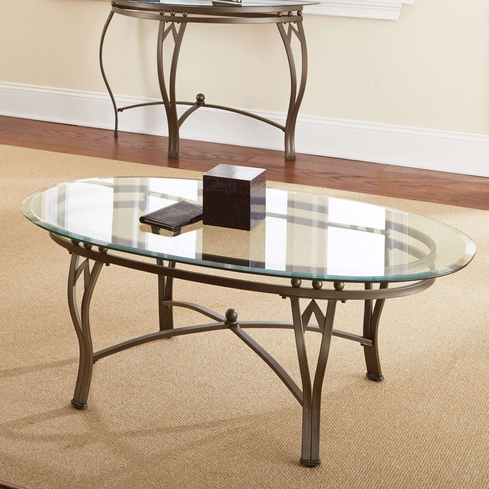 Steve Silver Madrid Oval Glass Top Coffee Table – Walmart Pertaining To Current Oval Glass And Wood Coffee Tables (View 20 of 20)