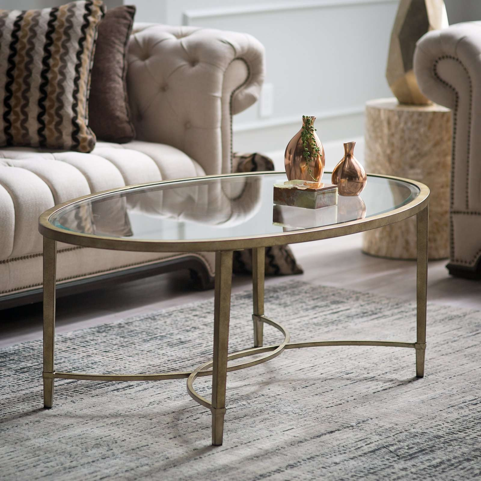 Steve Silver Madrid Oval Glass Top Coffee Table (View 15 of 20)