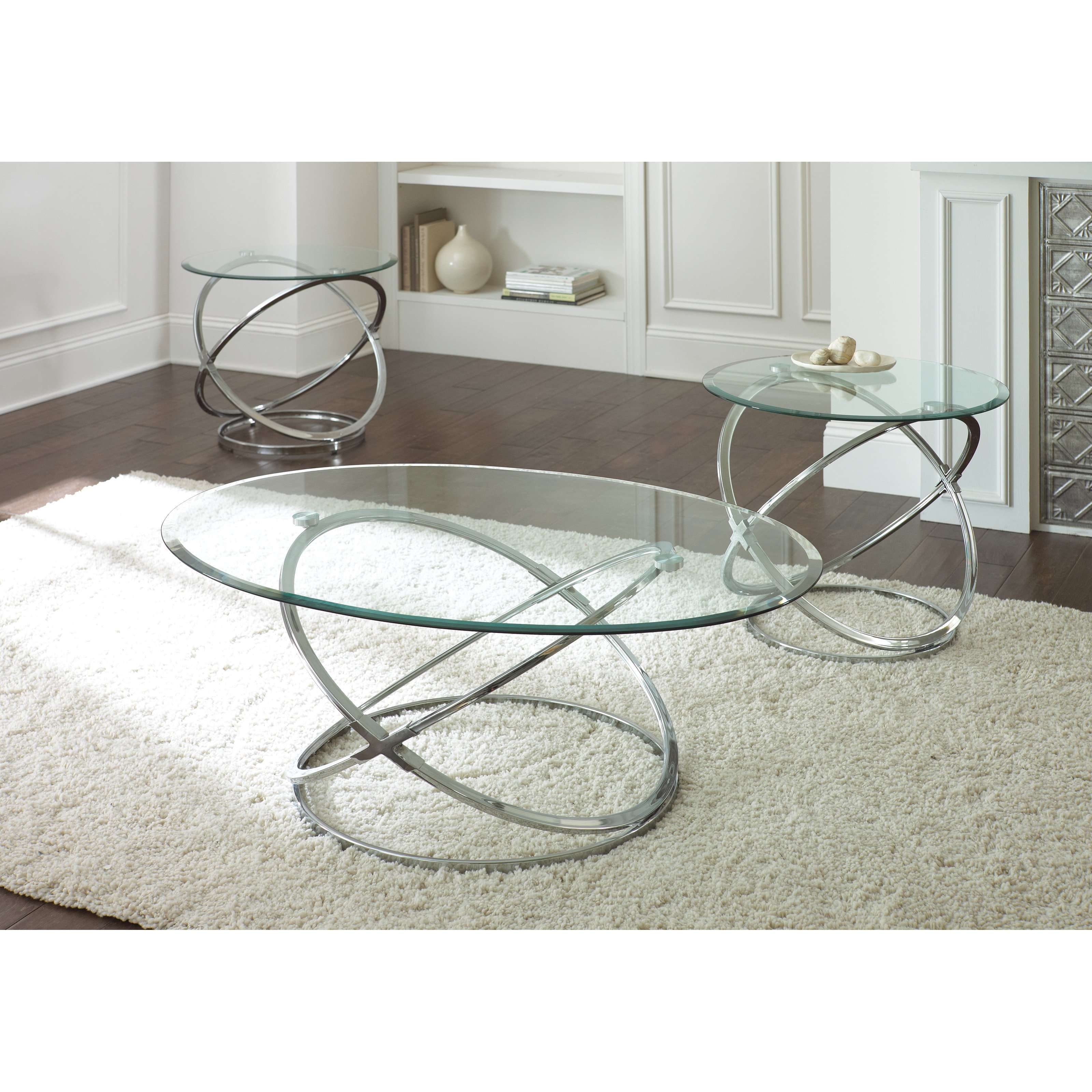 Steve Silver Orion Oval Chrome And Glass Coffee Table Set (View 7 of 20)
