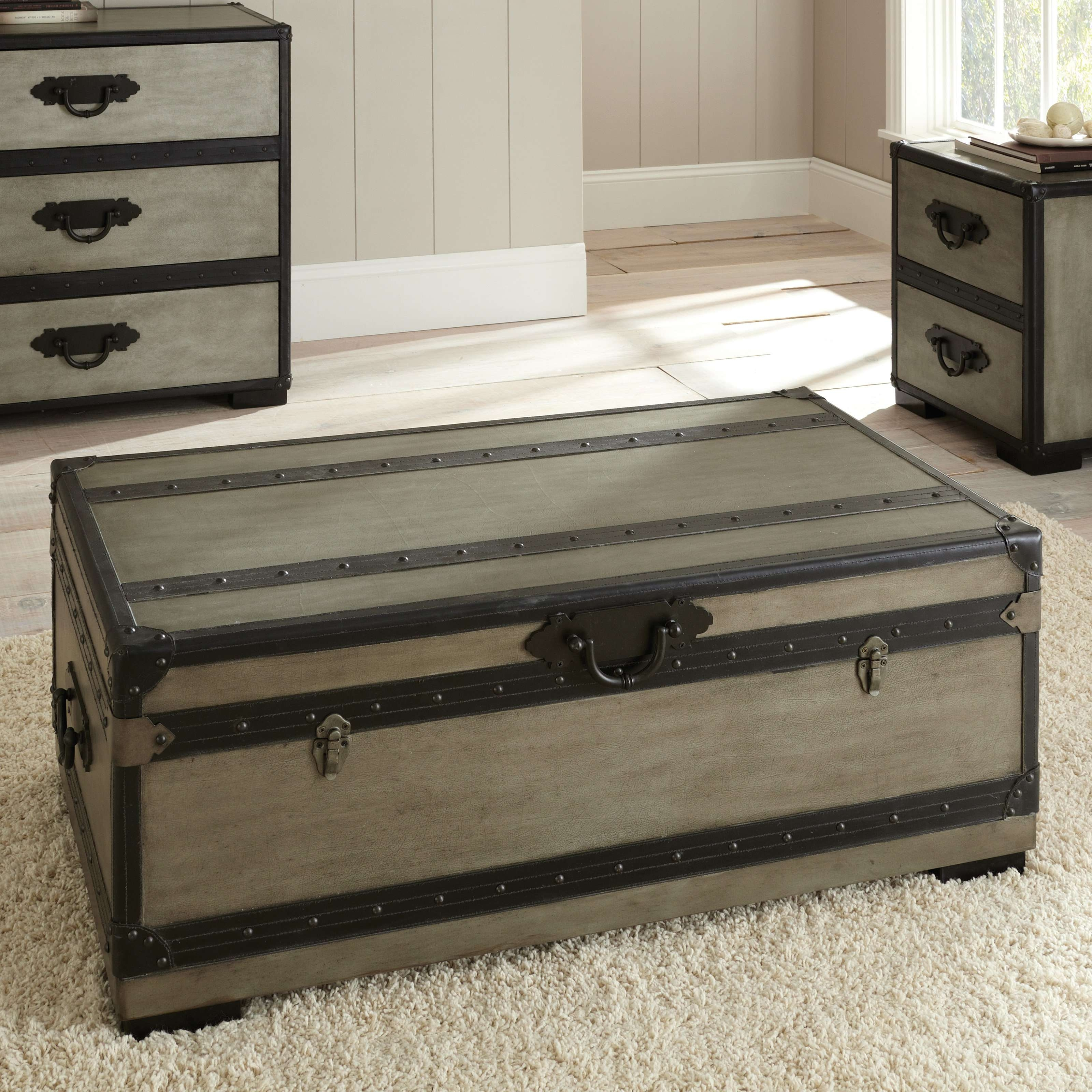 Steve Silver Rowan Rectangle Weathered Gray Trunk Coffee Table Regarding Most Current Trunk Coffee Tables (View 8 of 20)
