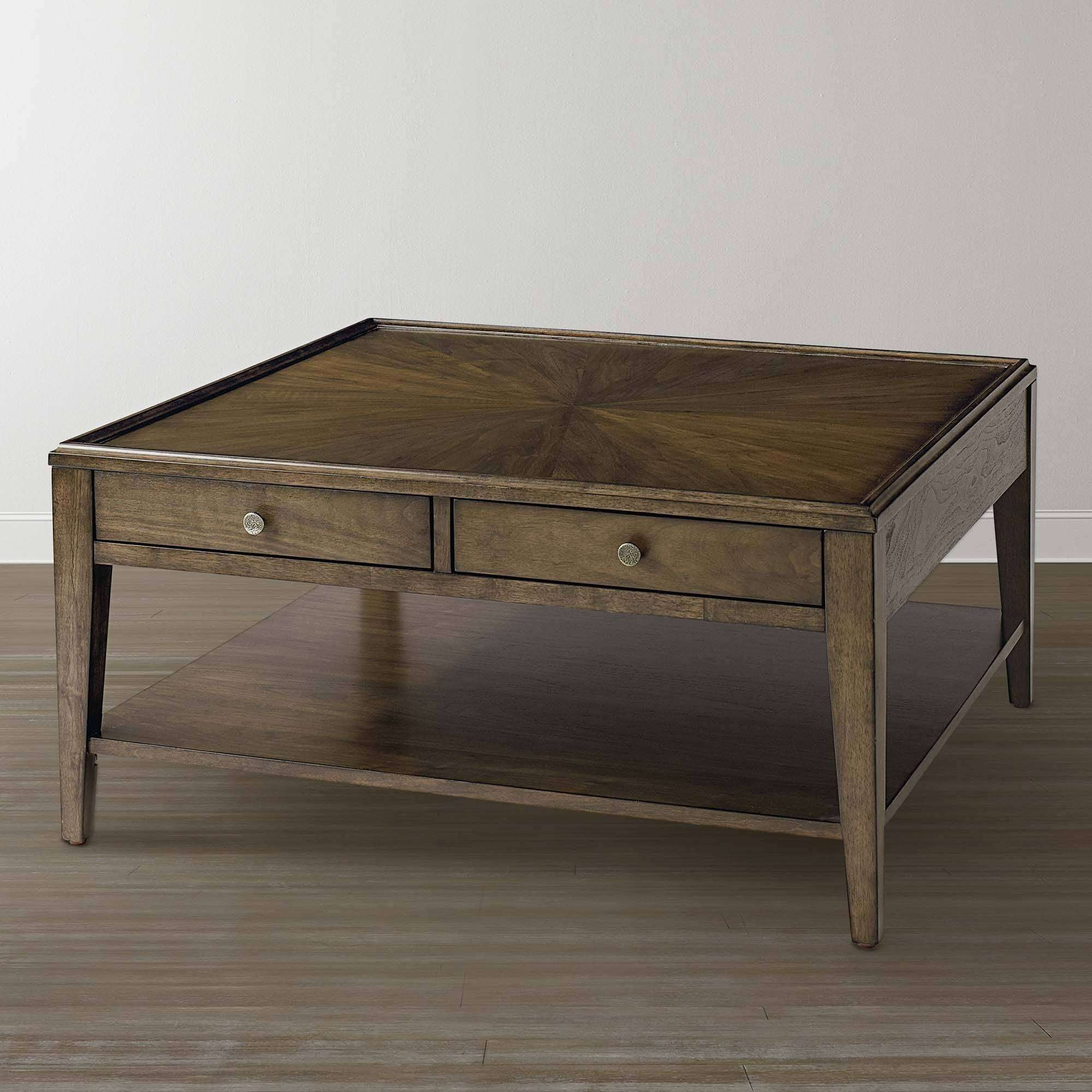Storage Coffee Tables With Regard To Well Liked Square Dark Wood Coffee Table (View 19 of 20)