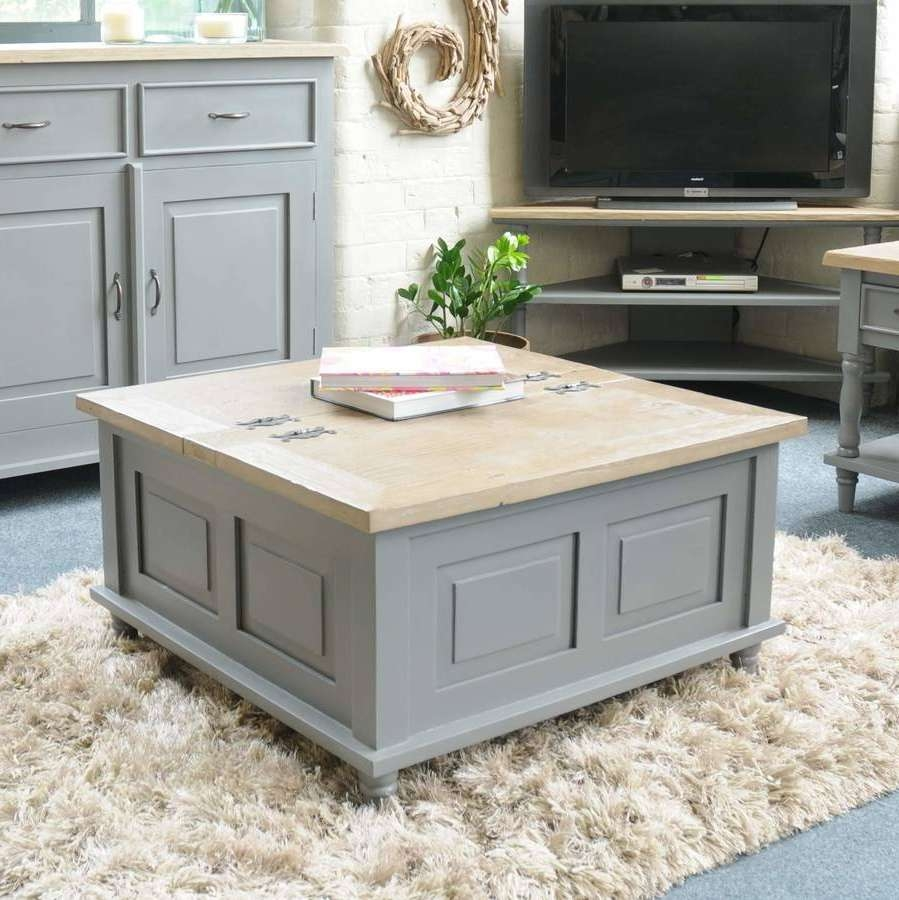 Storage Trunk Coffee Table Grey Or Antique Whitethe Orchard Inside Newest Grey Coffee Tables (View 17 of 20)