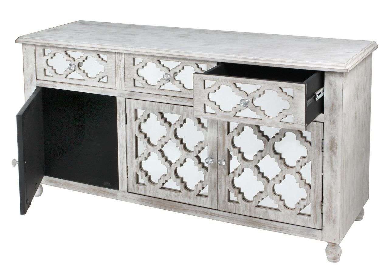 Style Washed Wood Low Sideboard With Mirrored Drawers Inside White Mirrored Sideboards (View 11 of 20)