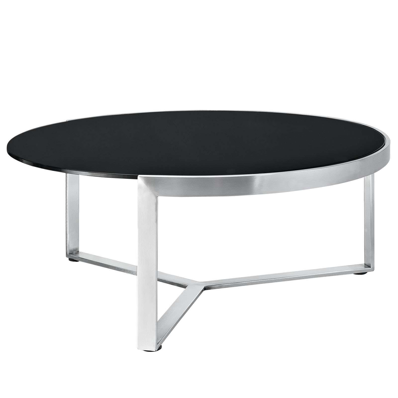 Stylish Modern Round Coffee Table With Slim Wooden Top Painted Inside Popular Round Steel Coffee Tables (View 14 of 20)