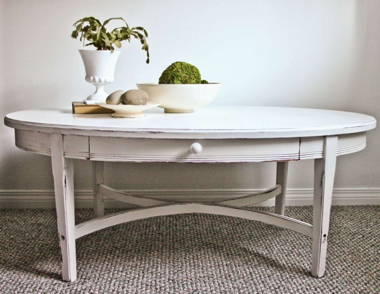 Sweet Tree Furniture: Oval Coffee Table With Drawer For Popular Oval White Coffee Tables (View 16 of 20)