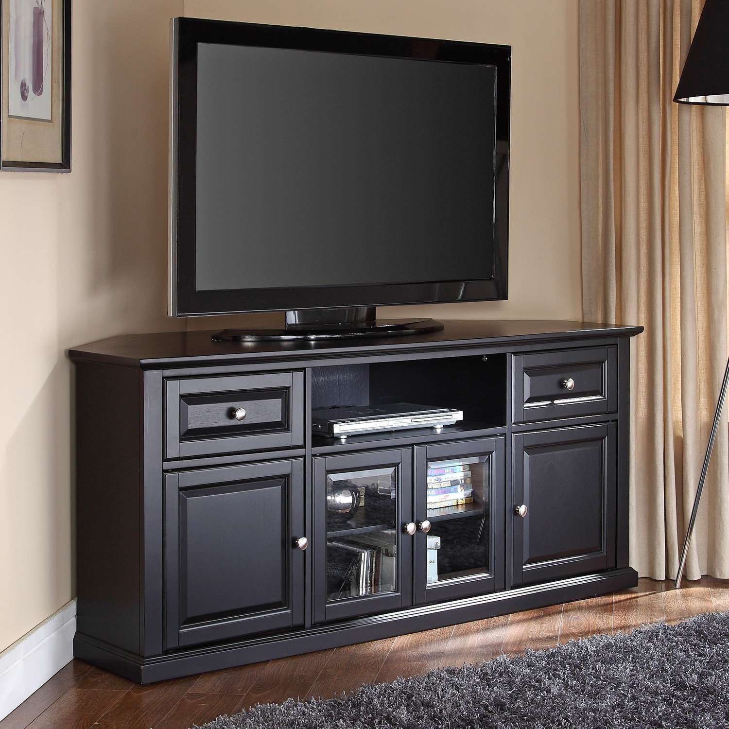 Talla Cabinets With Doors Glass Elegant Black Hardwood Cabinet With Corner Tv Cabinets With Glass Doors (View 15 of 20)