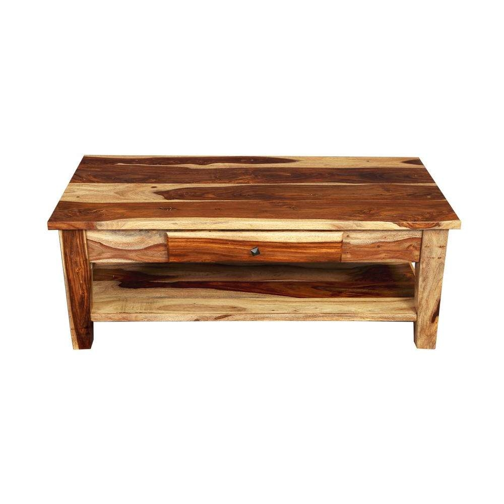 Taos Traditional Natural Solid Sheesham Wood Coffee Table With Regarding Famous Sheesham Coffee Tables (View 11 of 20)