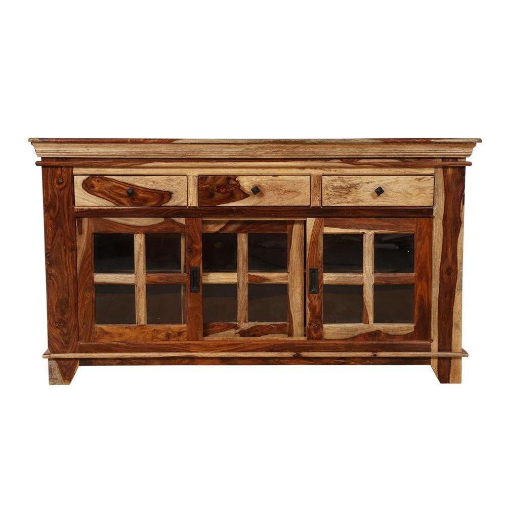 Taos Traditional Solid Sheesham Wood Glass Sliding Door Cabinet In Throughout Traditional Sideboards (View 20 of 20)